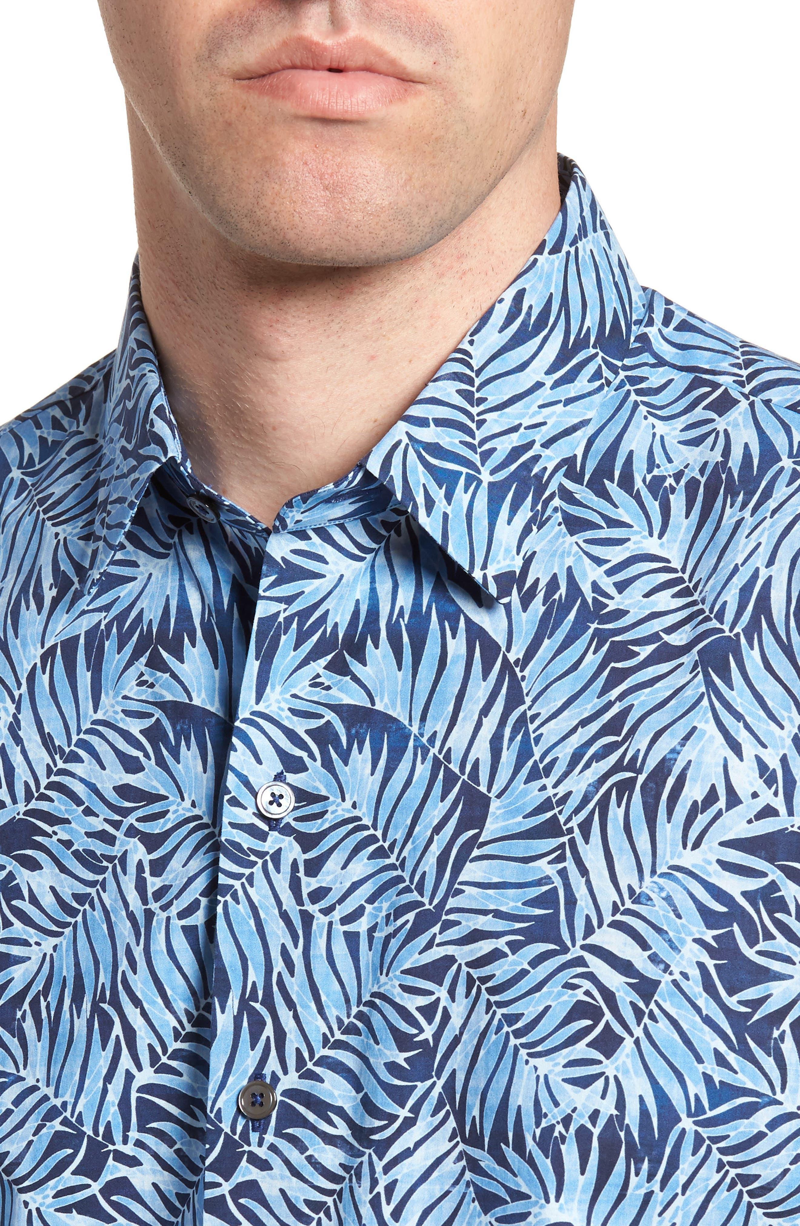 Slack Palm Print Sport Shirt,                             Alternate thumbnail 2, color,                             Navy