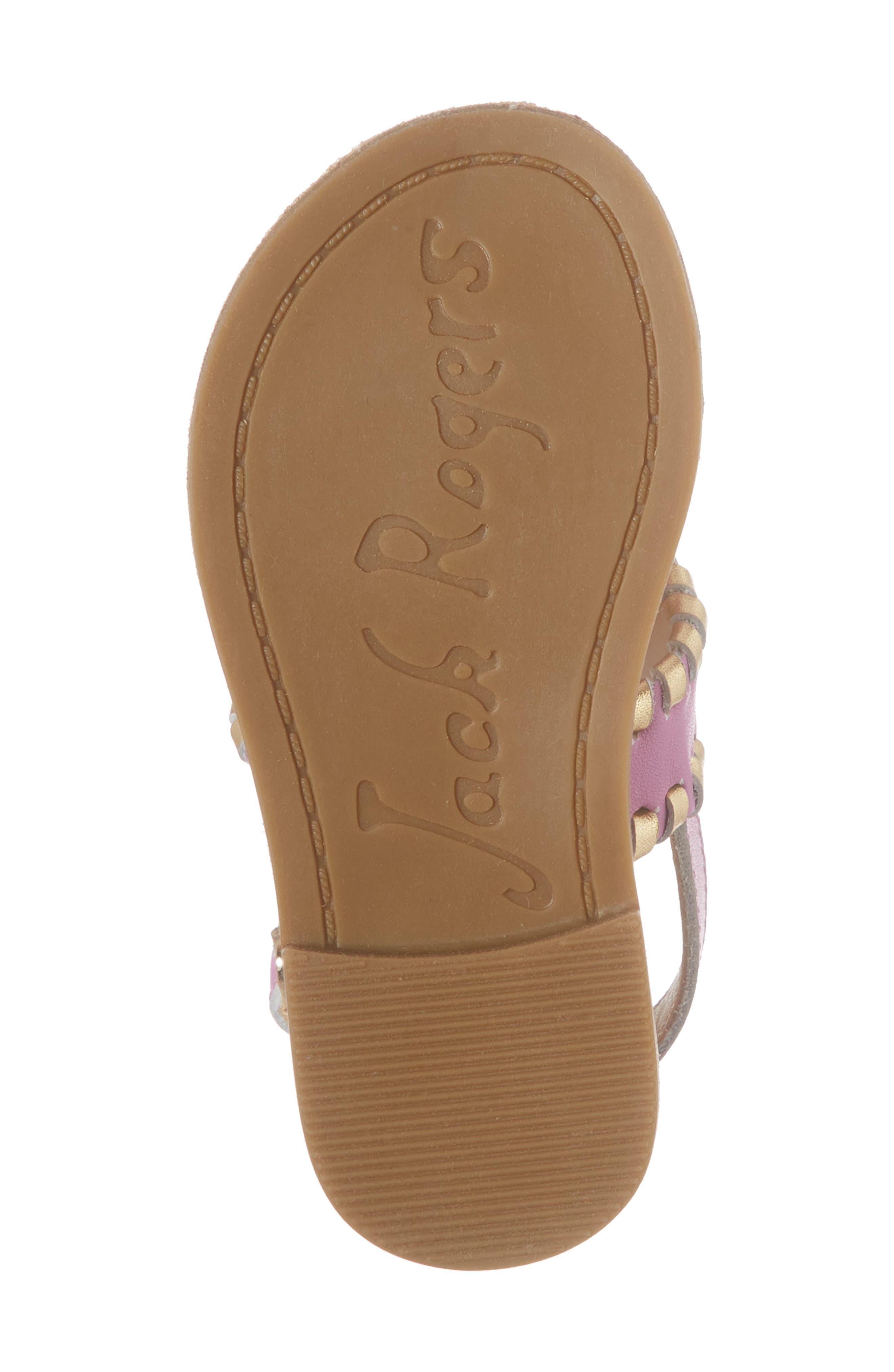 Little Miss Hollis Metallic Trim Sandal,                             Alternate thumbnail 6, color,                             Lavender Pink/ Gold Leather