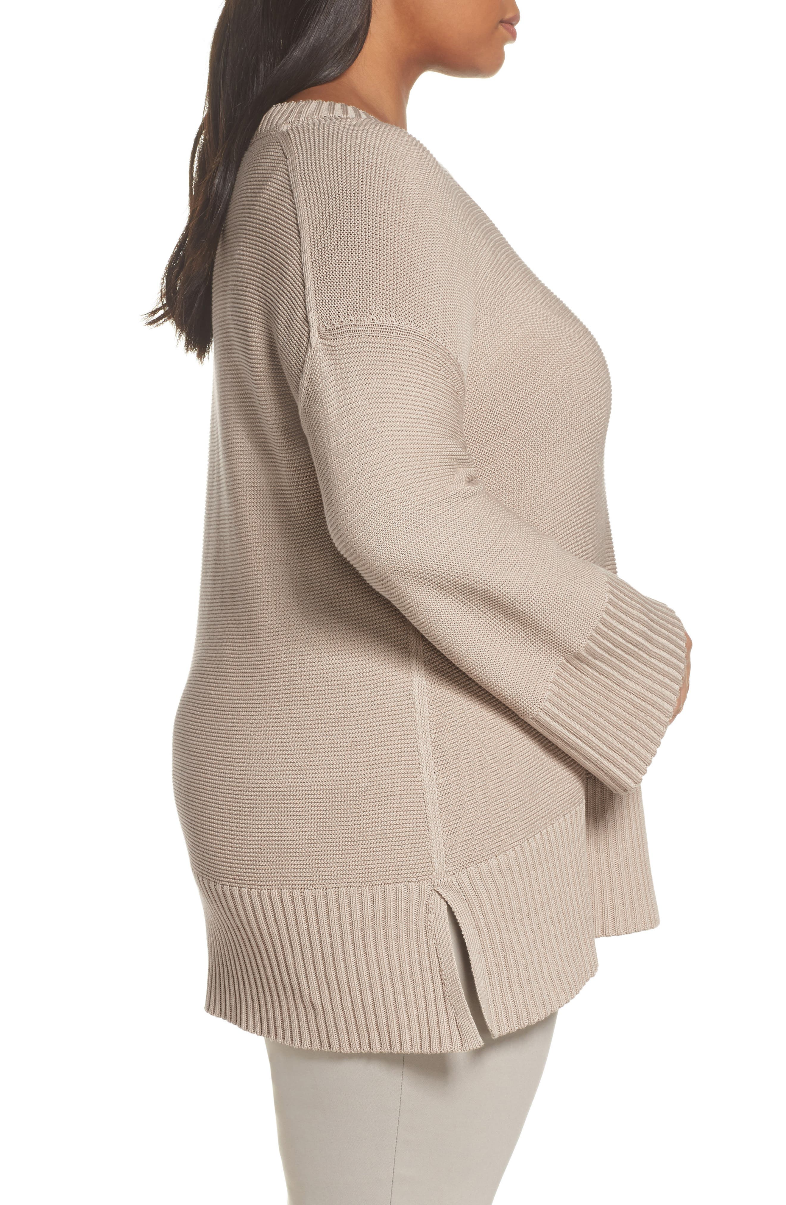 Lafayette 148 Silk and Cotton Sweater,                             Alternate thumbnail 3, color,                             Khaki