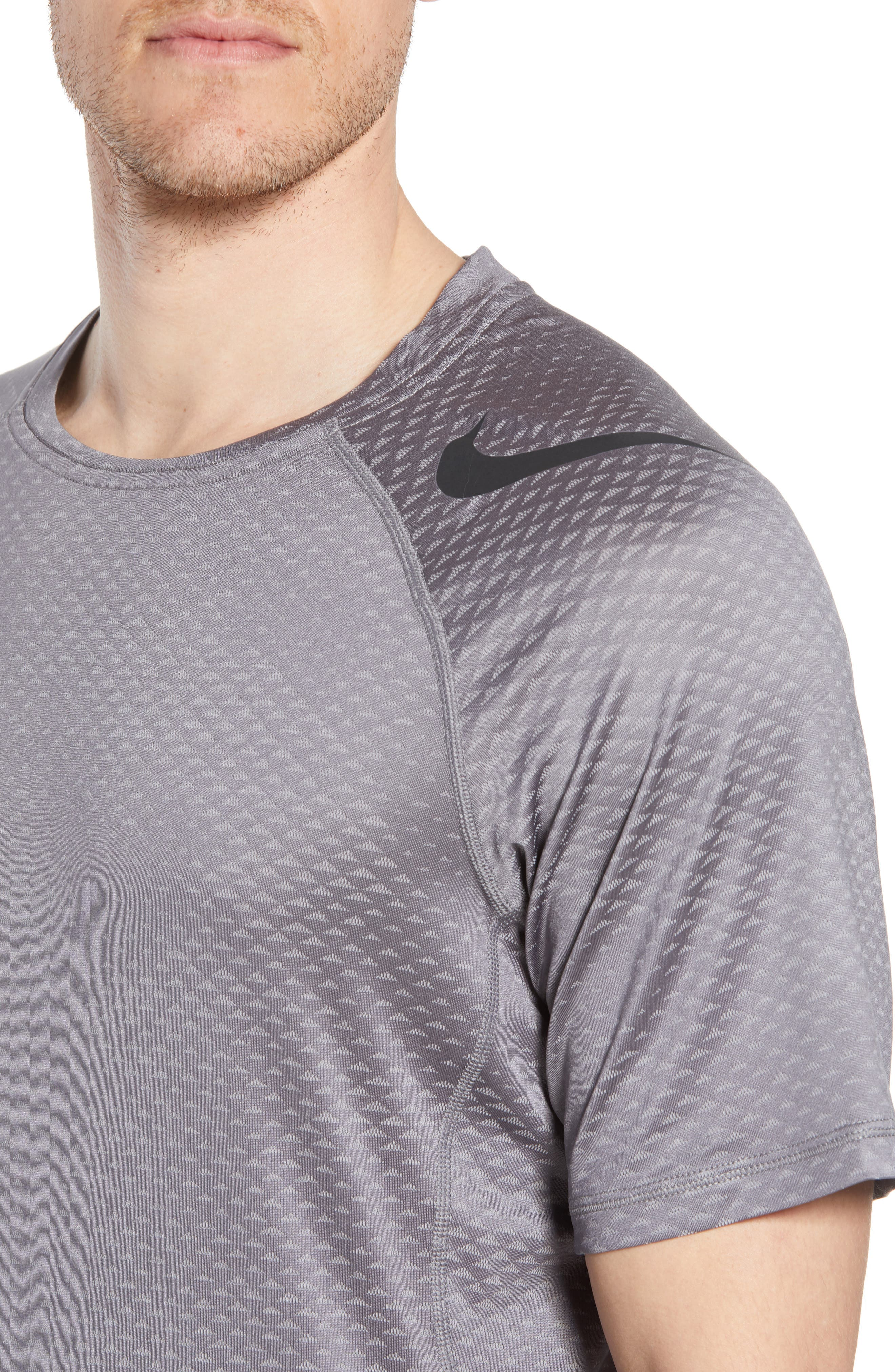 Pro HyperCool Fitted Crewneck T-Shirt,                             Alternate thumbnail 4, color,                             Atmosphere Grey/ Black
