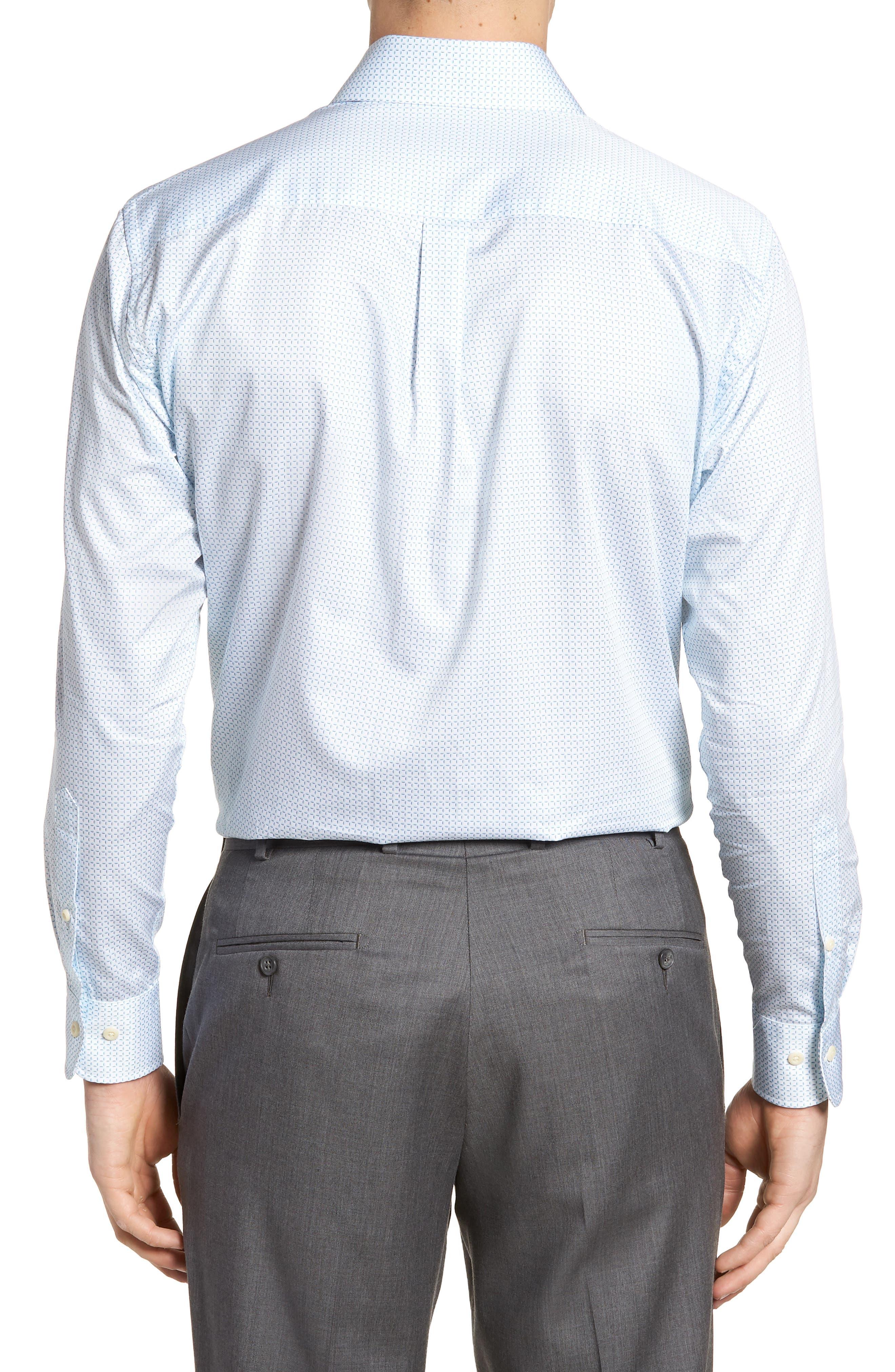 Sand Dollar Shore Microcheck Sport Shirt,                             Alternate thumbnail 3, color,                             Heron Blue