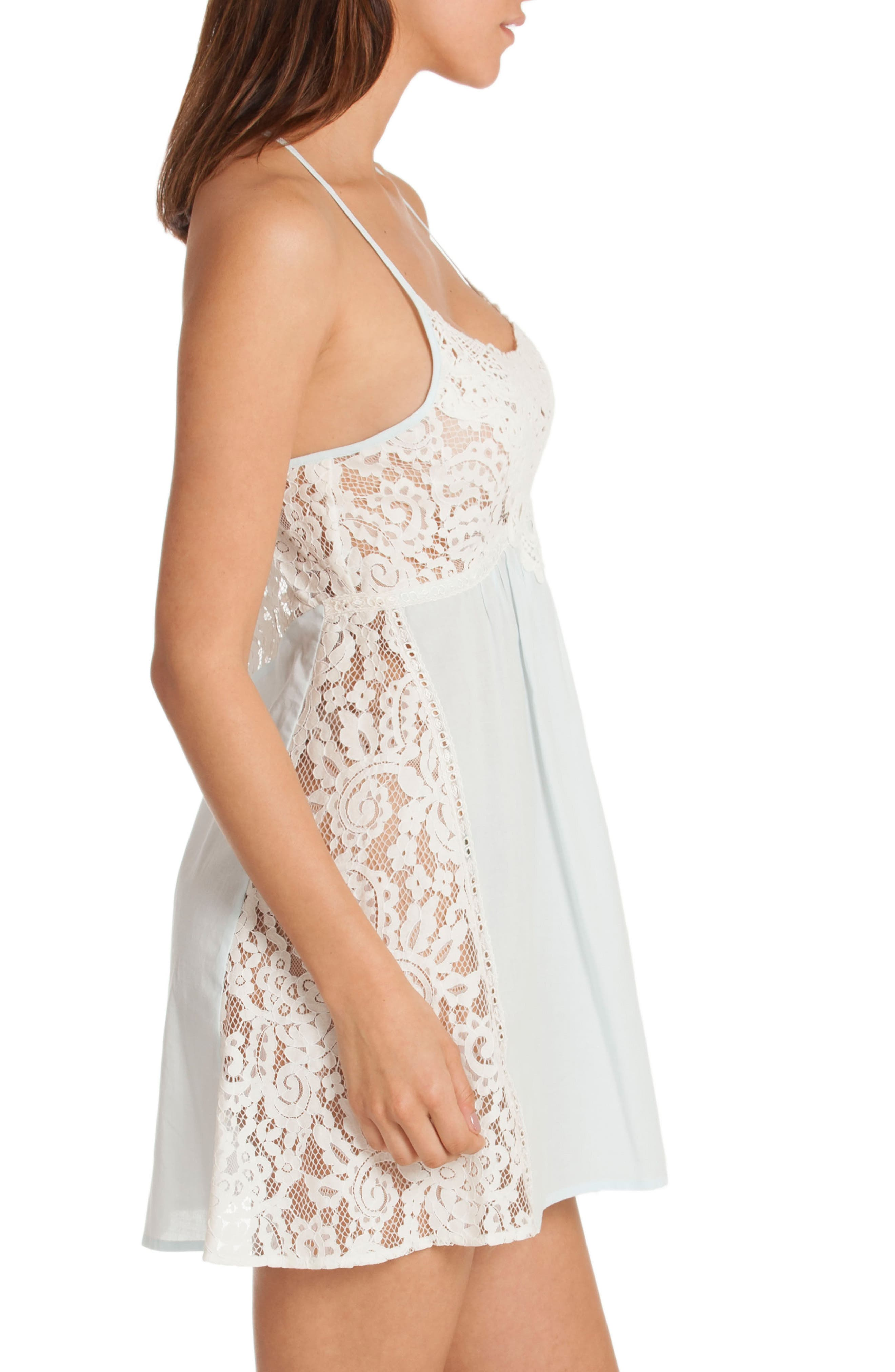 Lace Chemise,                             Alternate thumbnail 3, color,                             Skyfall/ Beige