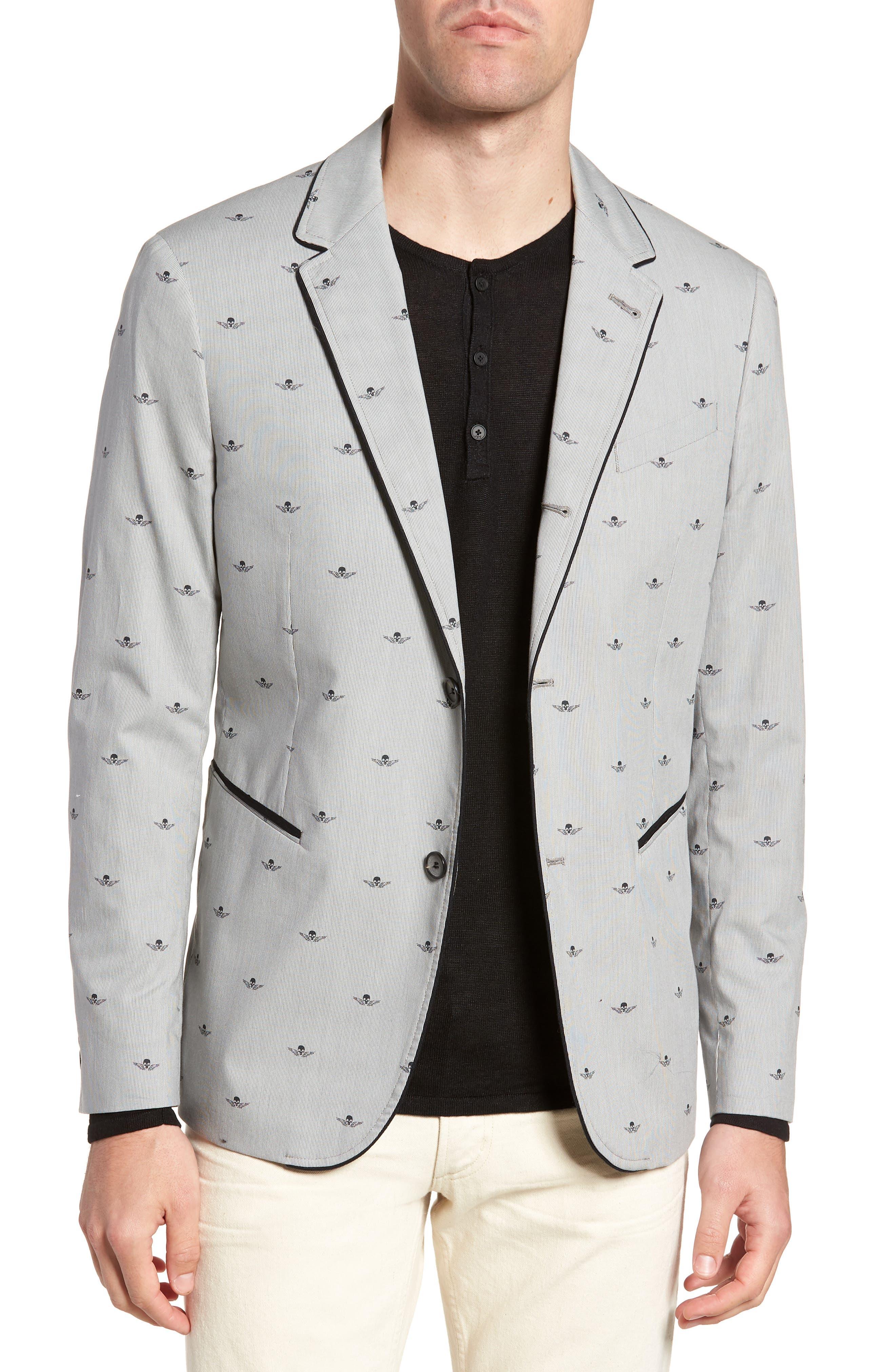 Slim Fit Print Cotton Blazer,                         Main,                         color, Mercury Grey