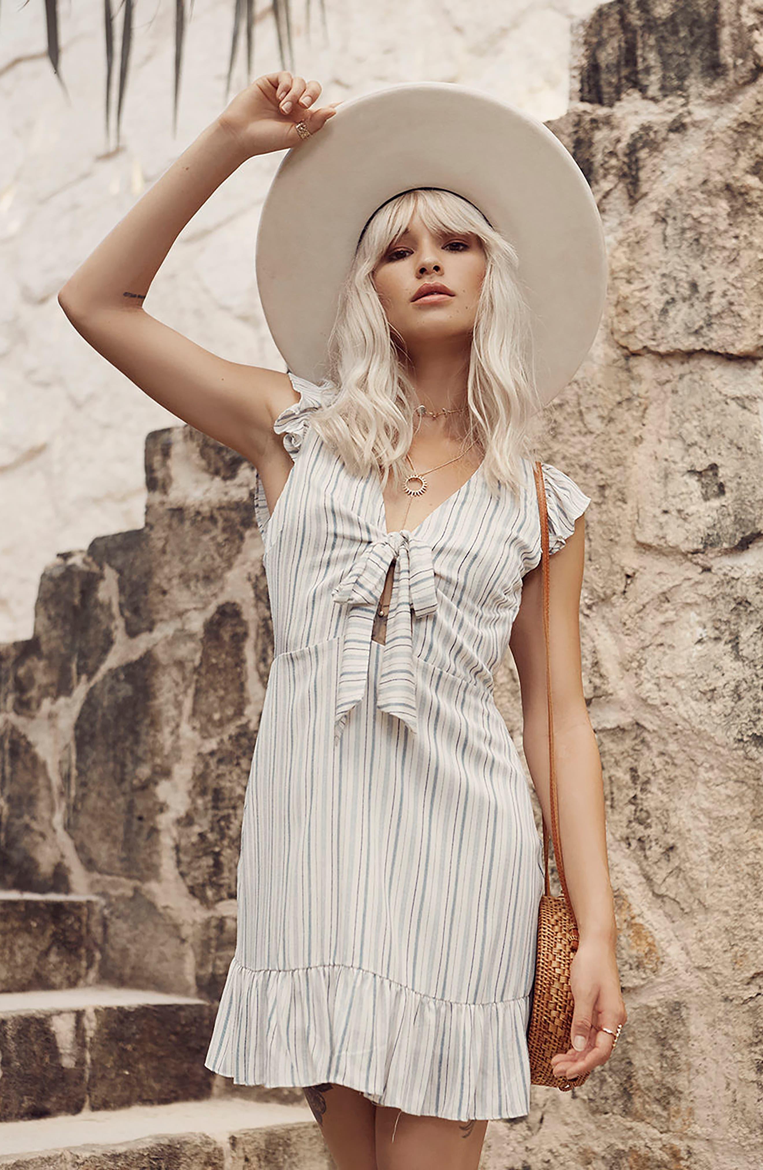 Kiara Stripe Minidress,                             Alternate thumbnail 2, color,                             Light Blue
