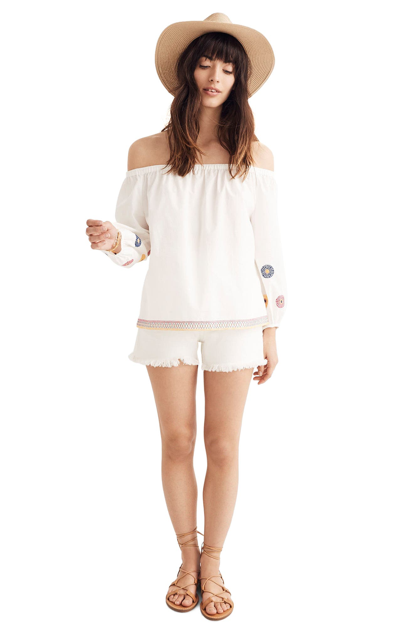 Embroidered Off the Shoulder Top,                             Alternate thumbnail 3, color,