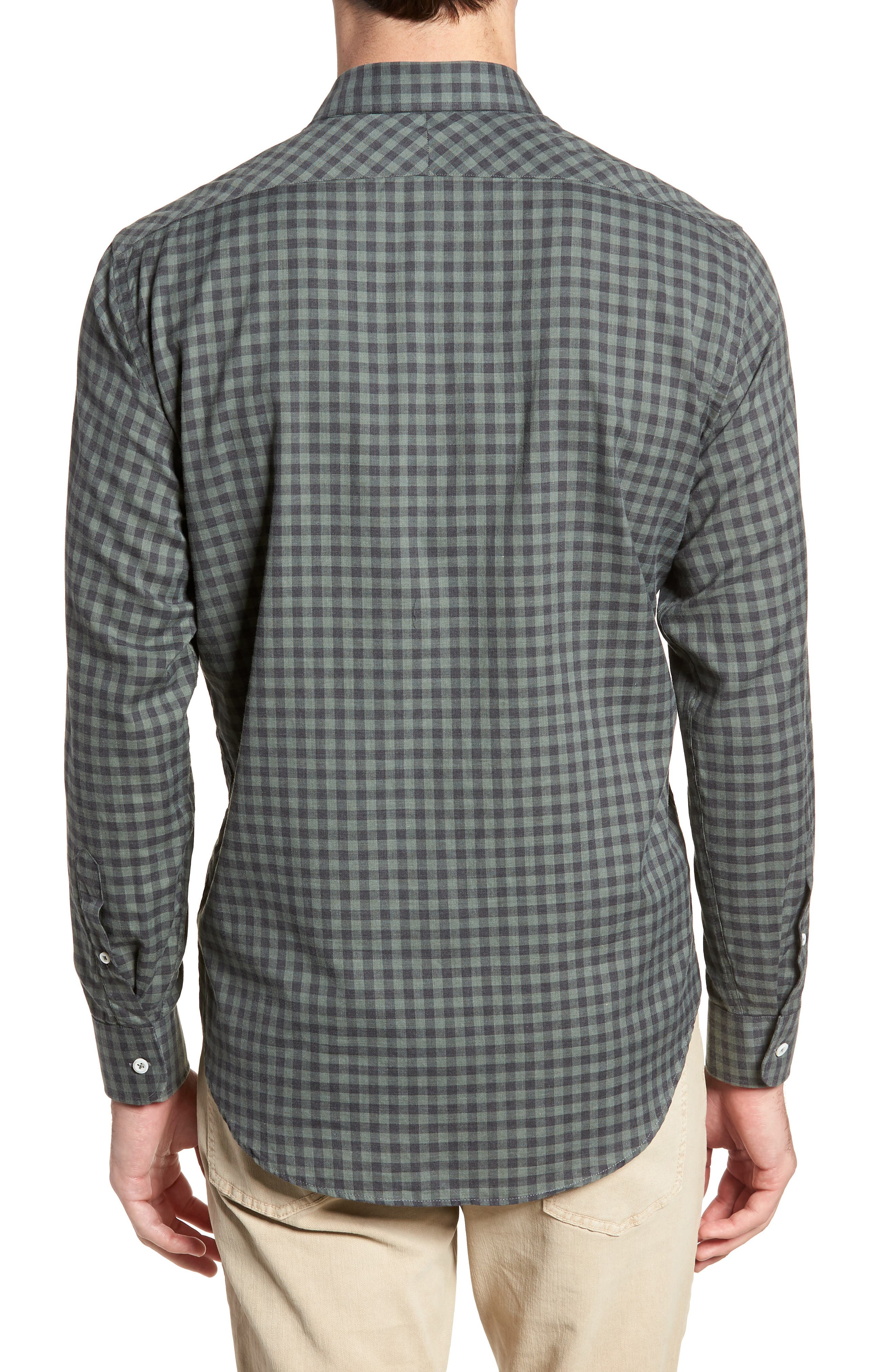 John Standard Fit Check Sport Shirt,                             Alternate thumbnail 3, color,                             Charcoal/ Green