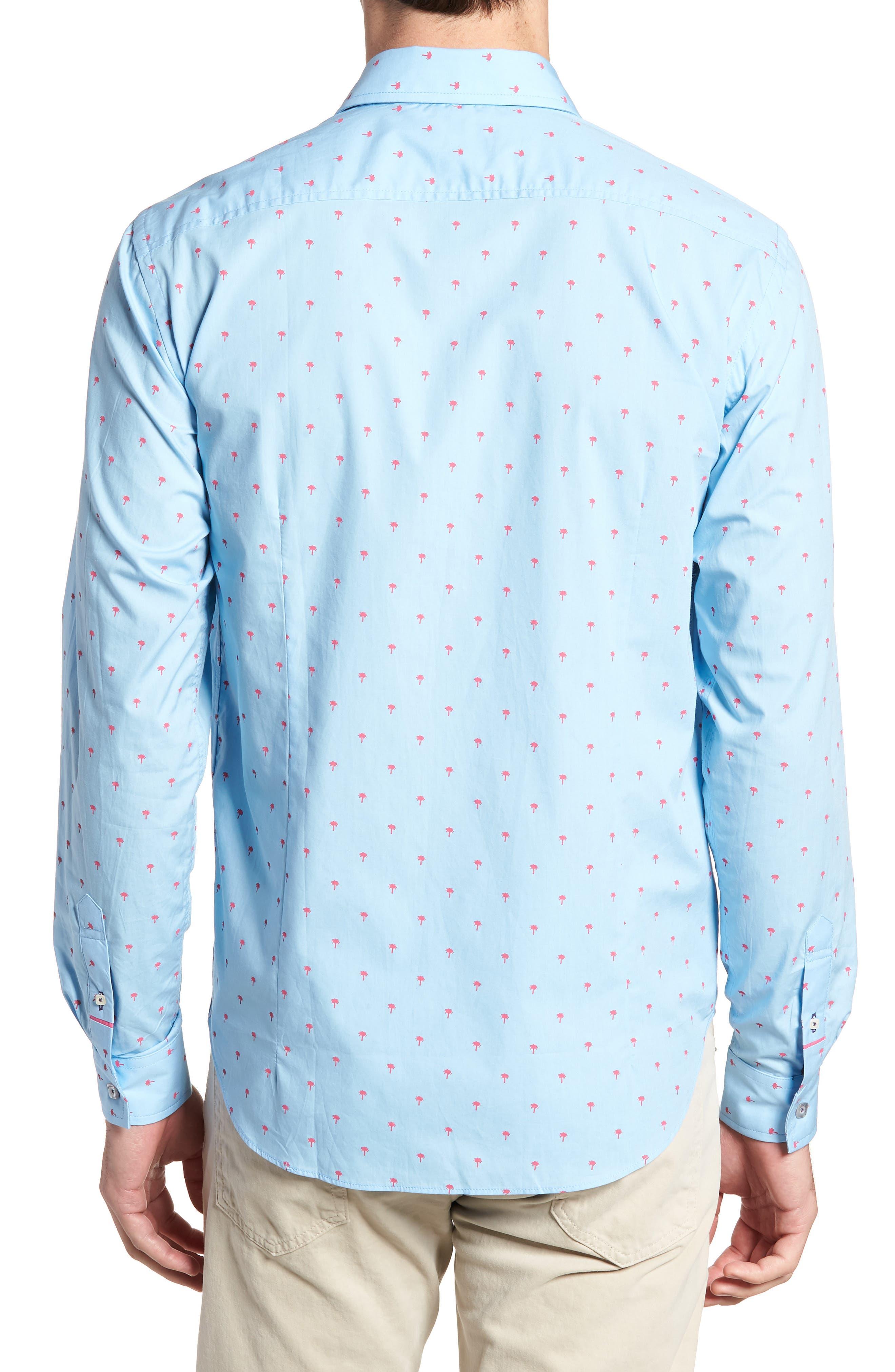 Slim Fit Palm Print Sport Shirt,                             Alternate thumbnail 3, color,                             Light Blue
