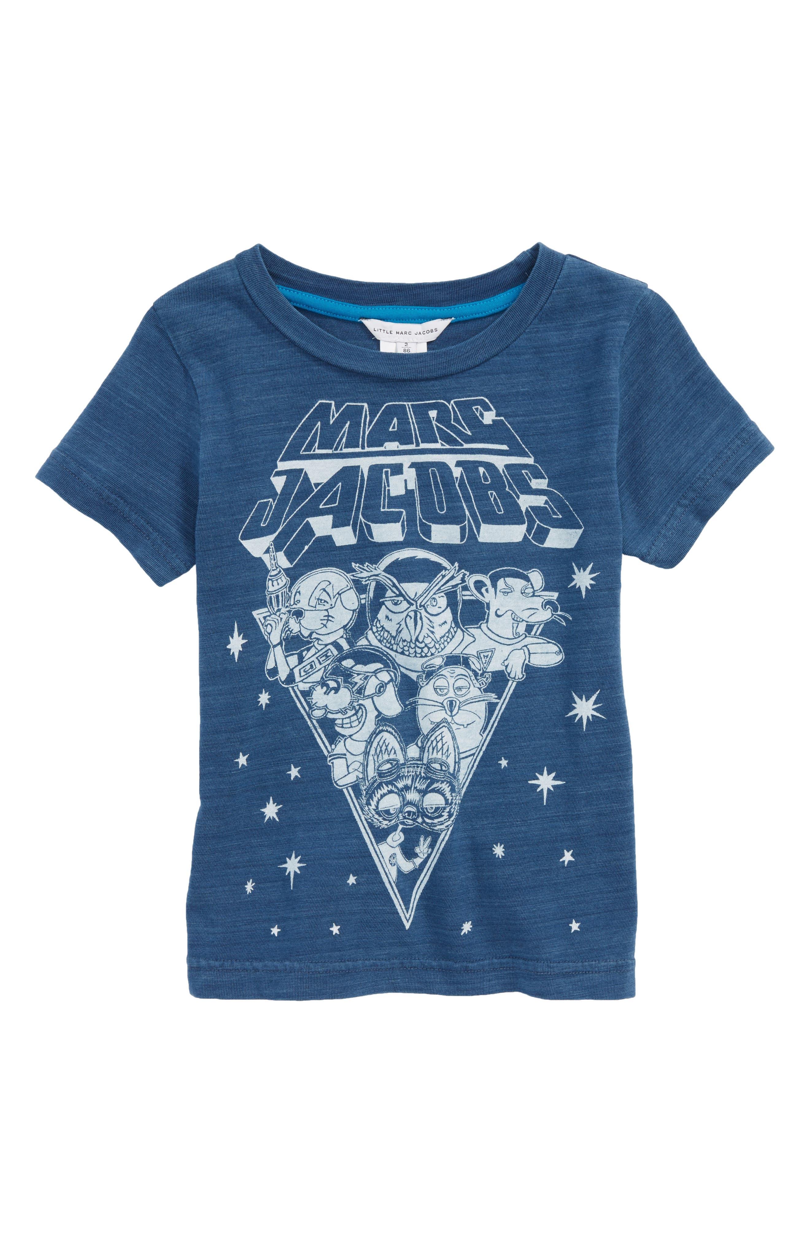 Space T-Shirt,                             Main thumbnail 1, color,                             Indigo/ Lavendar