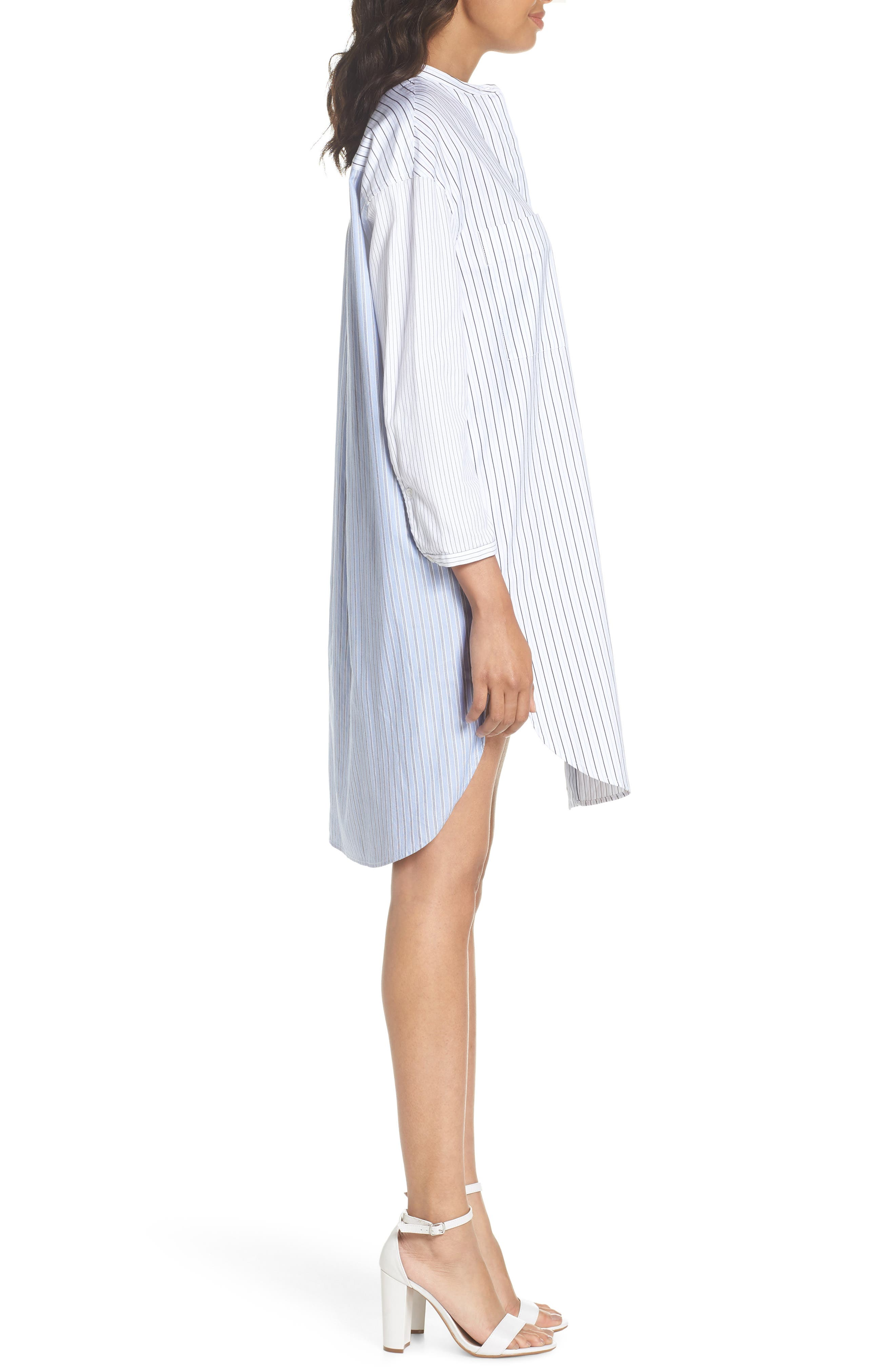 Tia Stripe Shirtdress,                             Alternate thumbnail 3, color,                             Stripe