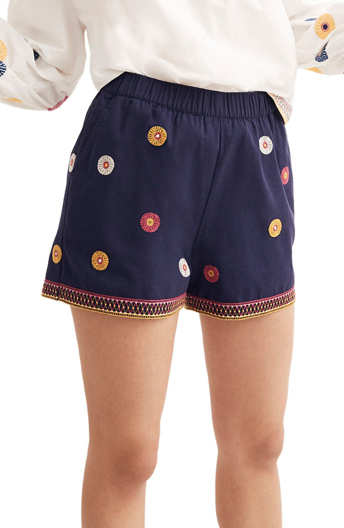 Embroidered Pull-On Shorts,                         Main,                         color, Midnight