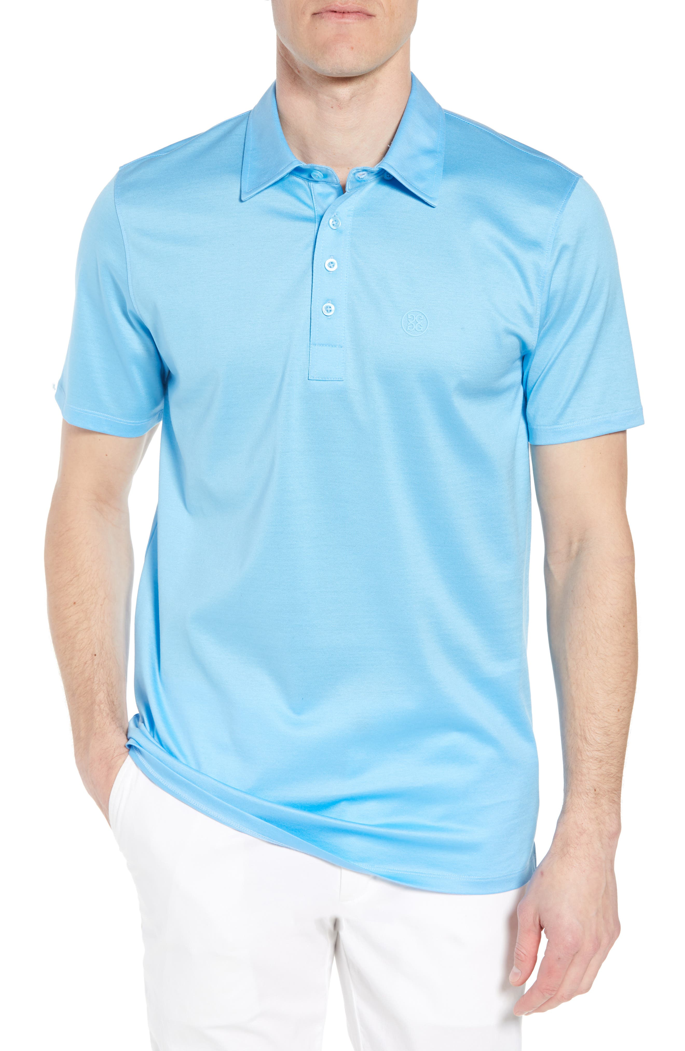 Essential Regular Fit Polo,                             Main thumbnail 1, color,                             Pacific