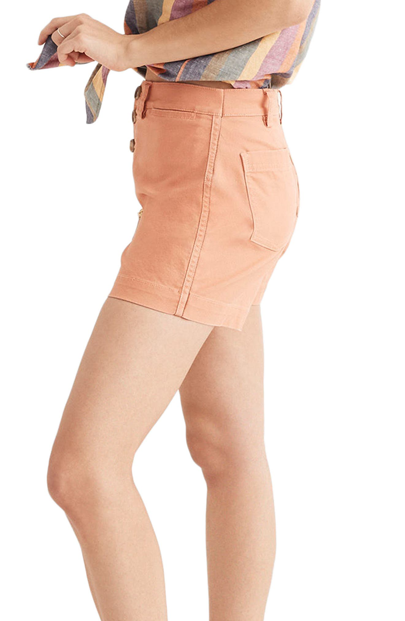 Emmett Button Front Shorts,                             Alternate thumbnail 3, color,                             Dried Coral