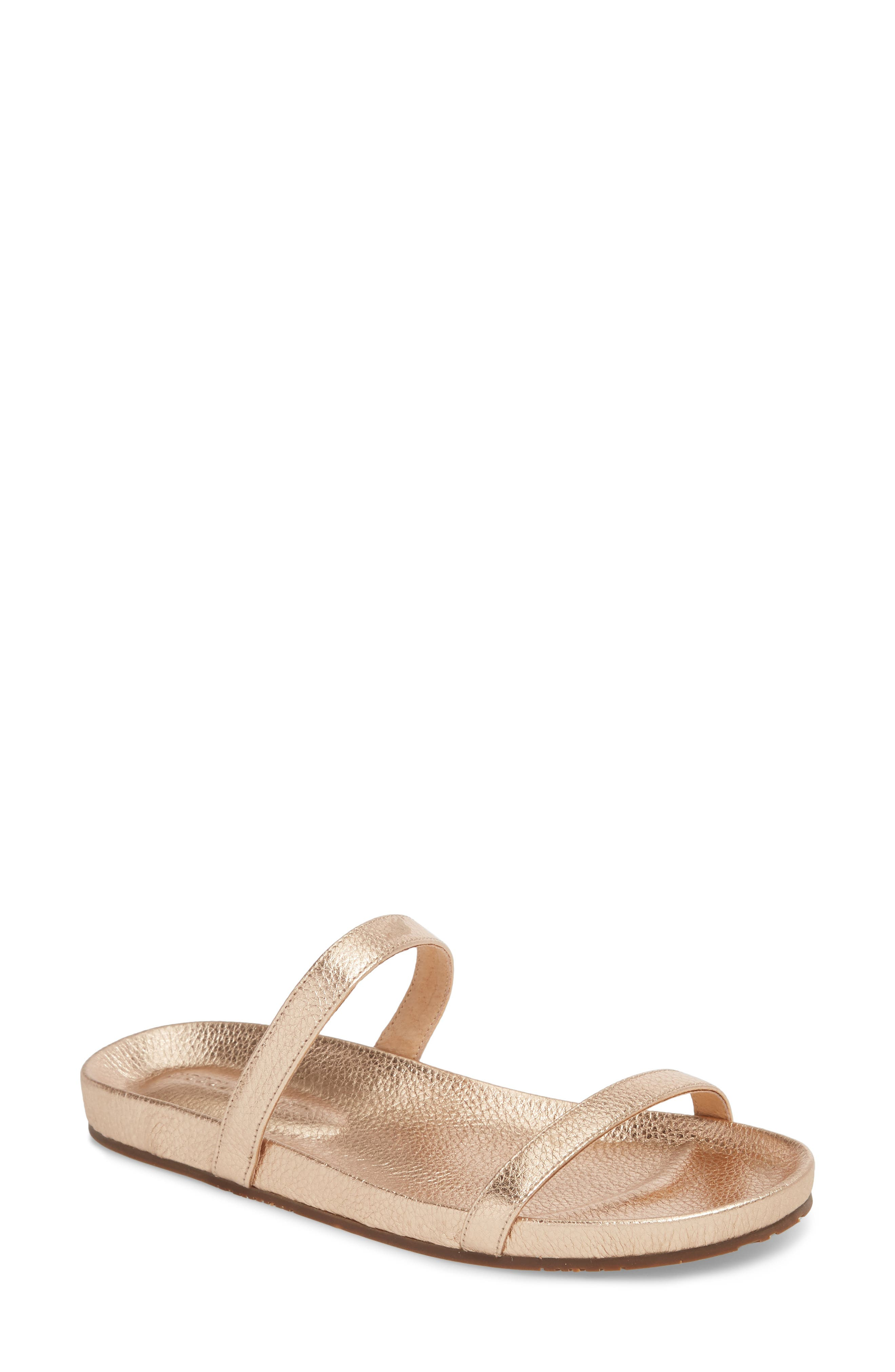 Yale Two-Strap Sandal,                             Main thumbnail 1, color,                             Rose Gold Leather