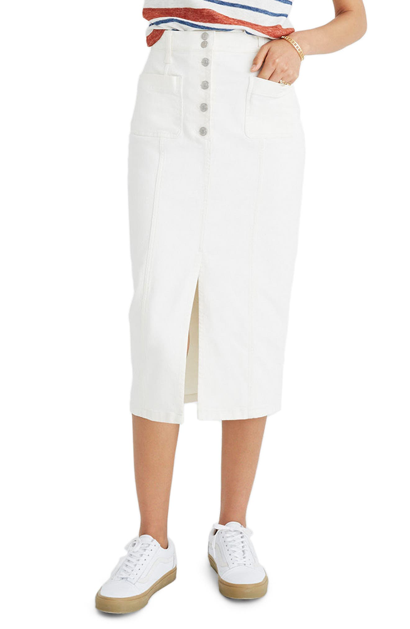 High Slit Denim Skirt,                         Main,                         color, Tile White