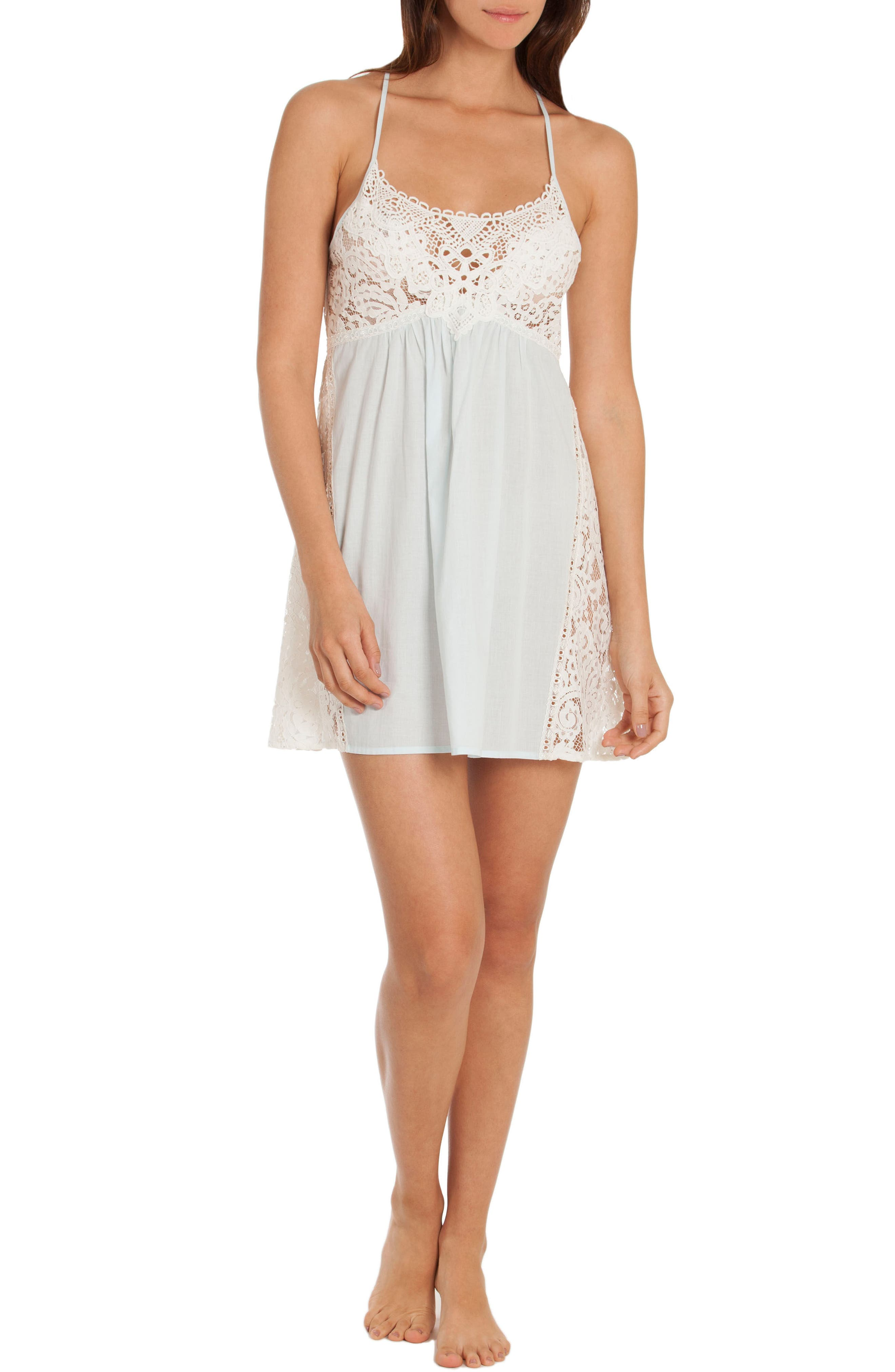 Lace Chemise,                             Alternate thumbnail 4, color,                             Skyfall/ Beige