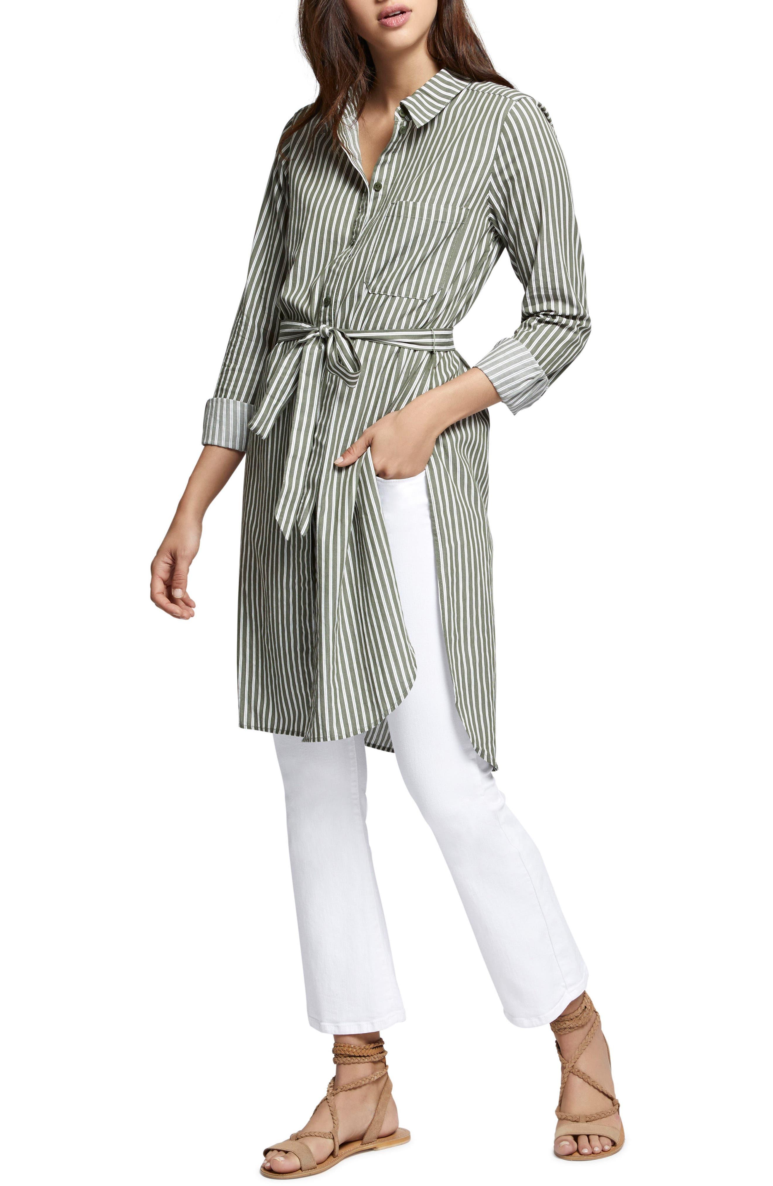 Teagan Maxi Shirt,                             Alternate thumbnail 4, color,                             Cadet Stripe