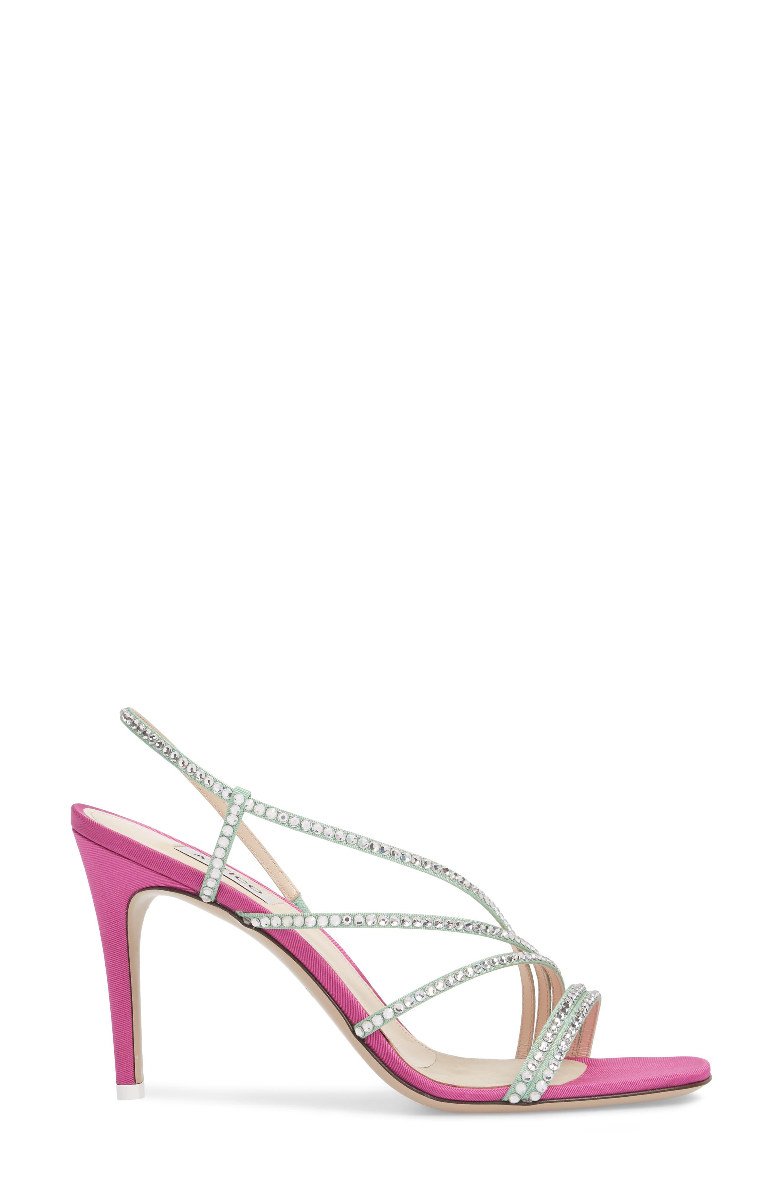 Crystal Embellished Strappy Sandal,                             Alternate thumbnail 3, color,                             Pink/ Silver