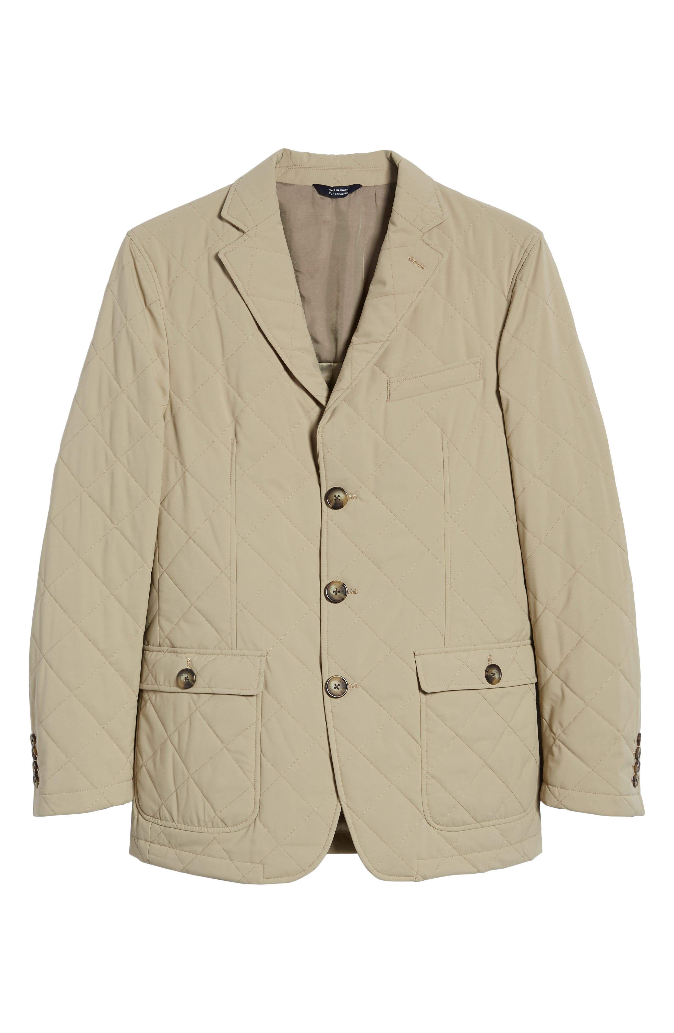 Classic Fit Quilted Blazer,                             Alternate thumbnail 6, color,                             Tan