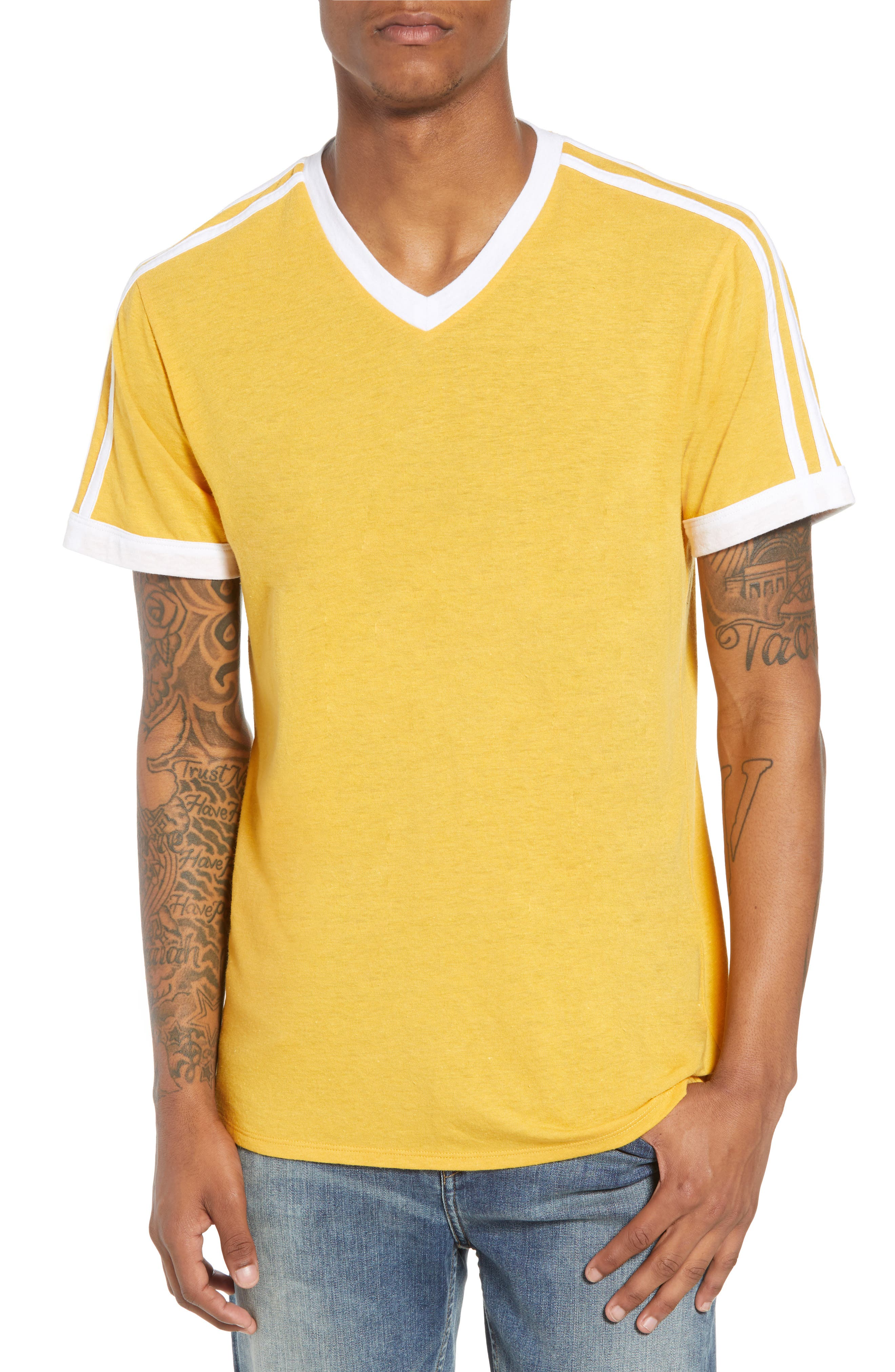 Vintage Athletic V-Neck T-Shirt,                         Main,                         color, Yellow Mineral / White Stripe