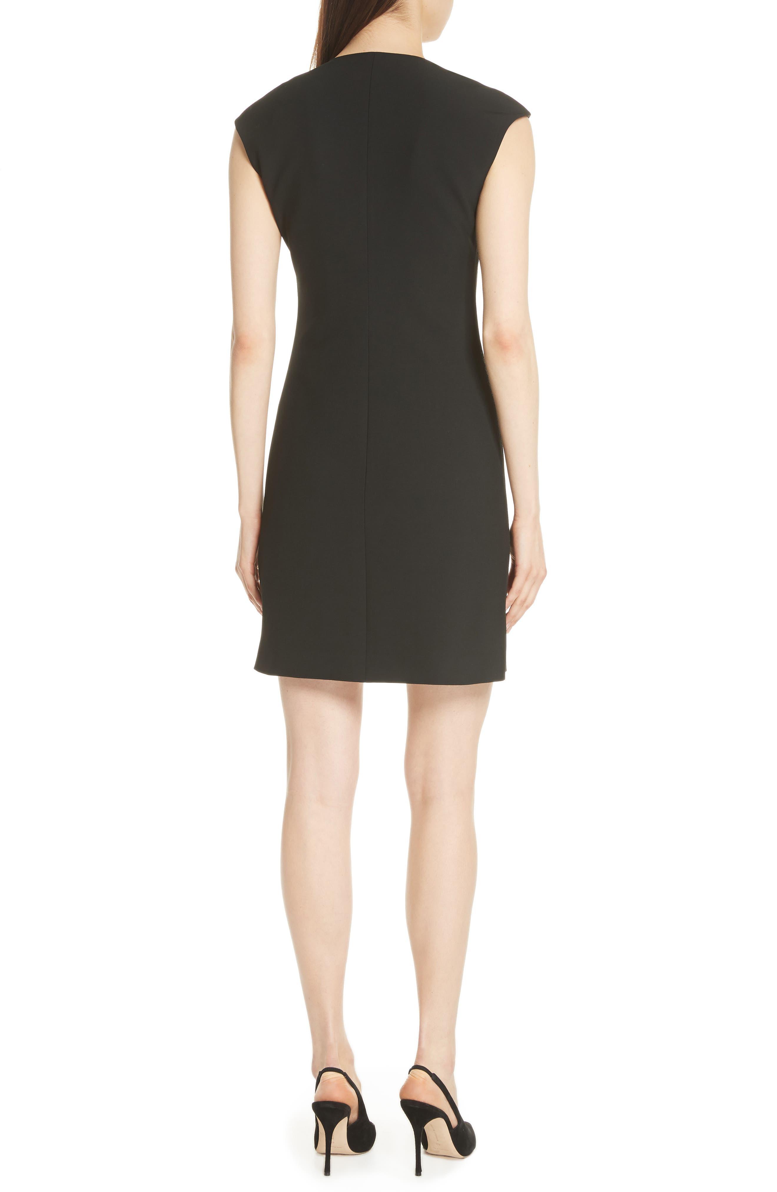 Zip Front A-Line Dress,                             Alternate thumbnail 2, color,                             Black