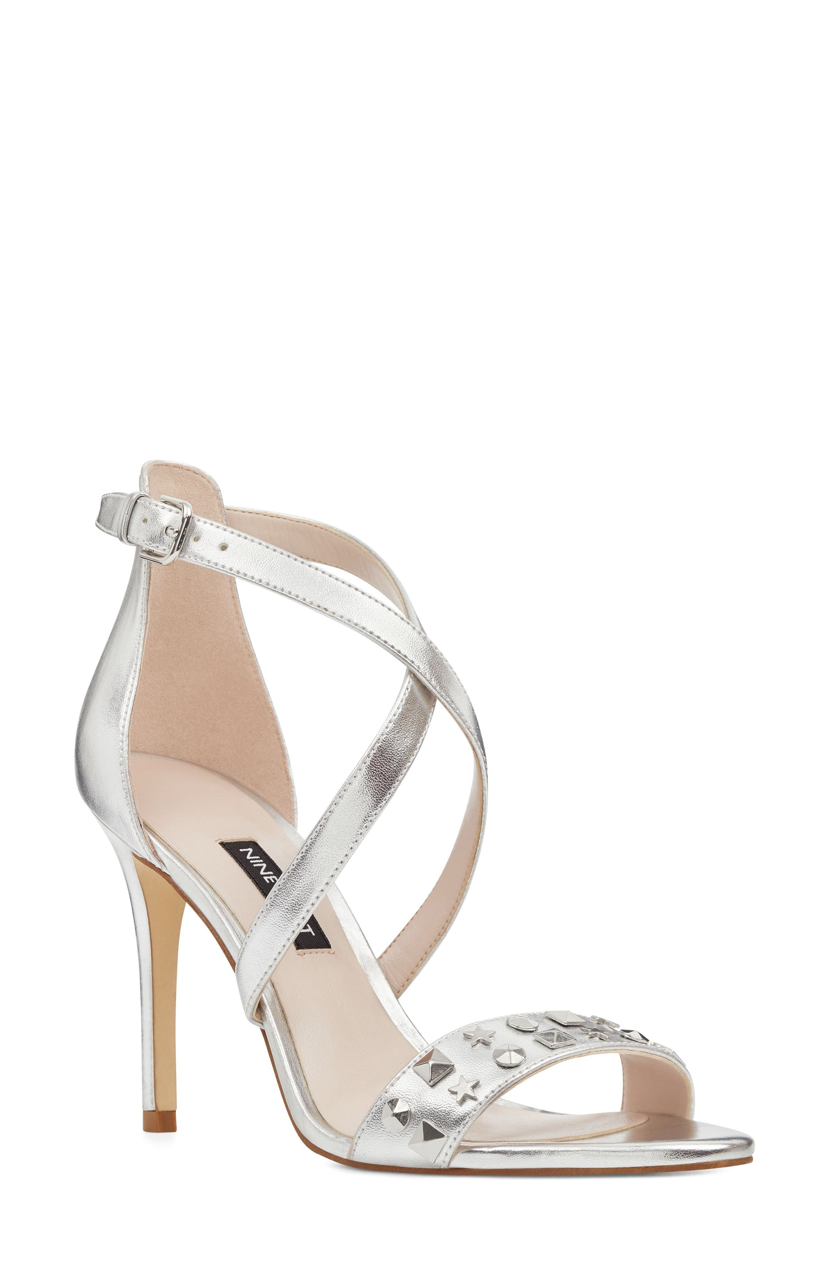 Maziany Studded Sandal,                         Main,                         color, Silver Faux Leather
