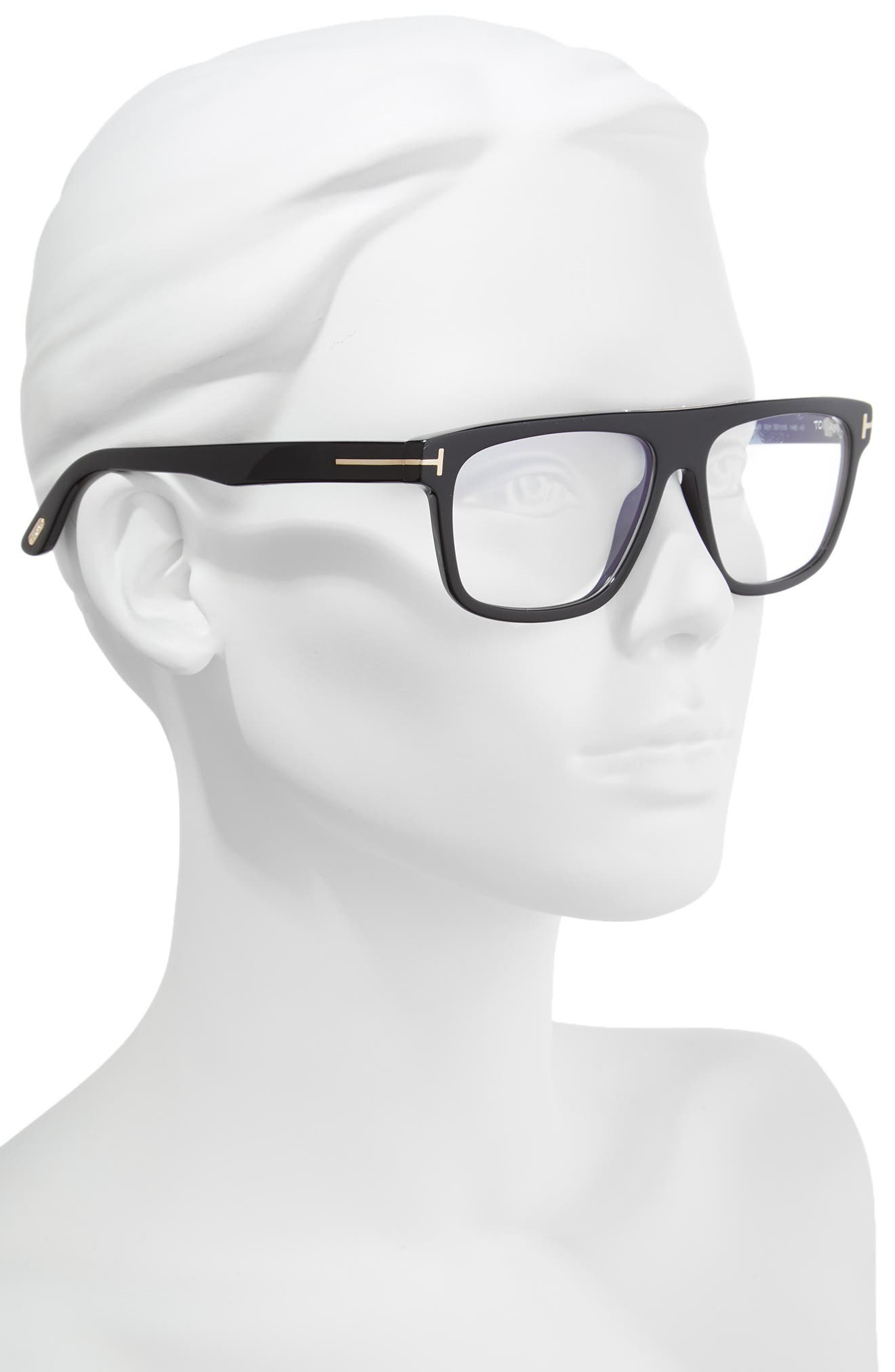 Cecilio 57mm Blue Block Optical Glasses,                             Alternate thumbnail 2, color,                             Shiny Black