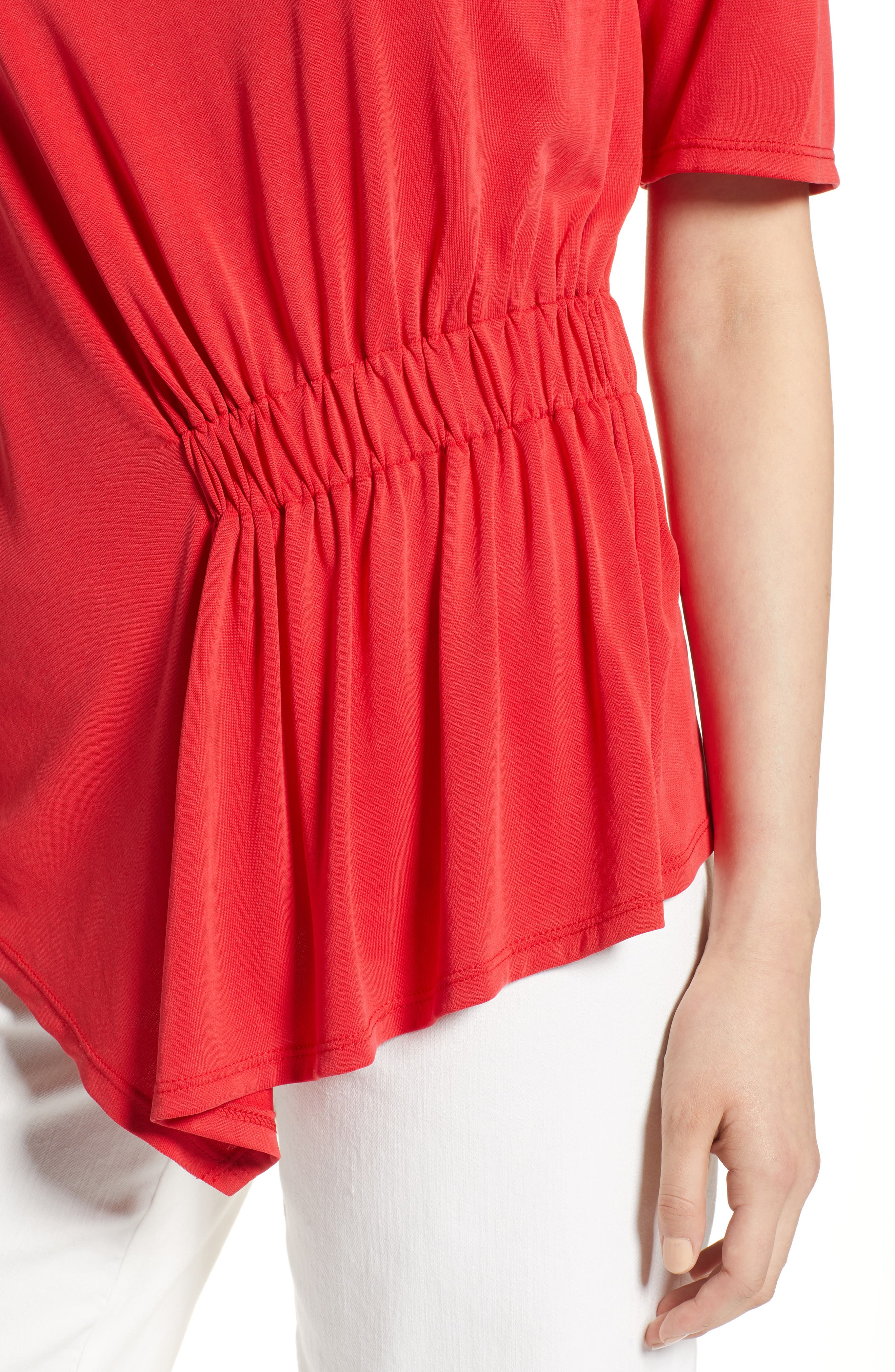 Ruched Waist Tee,                             Alternate thumbnail 4, color,                             Red