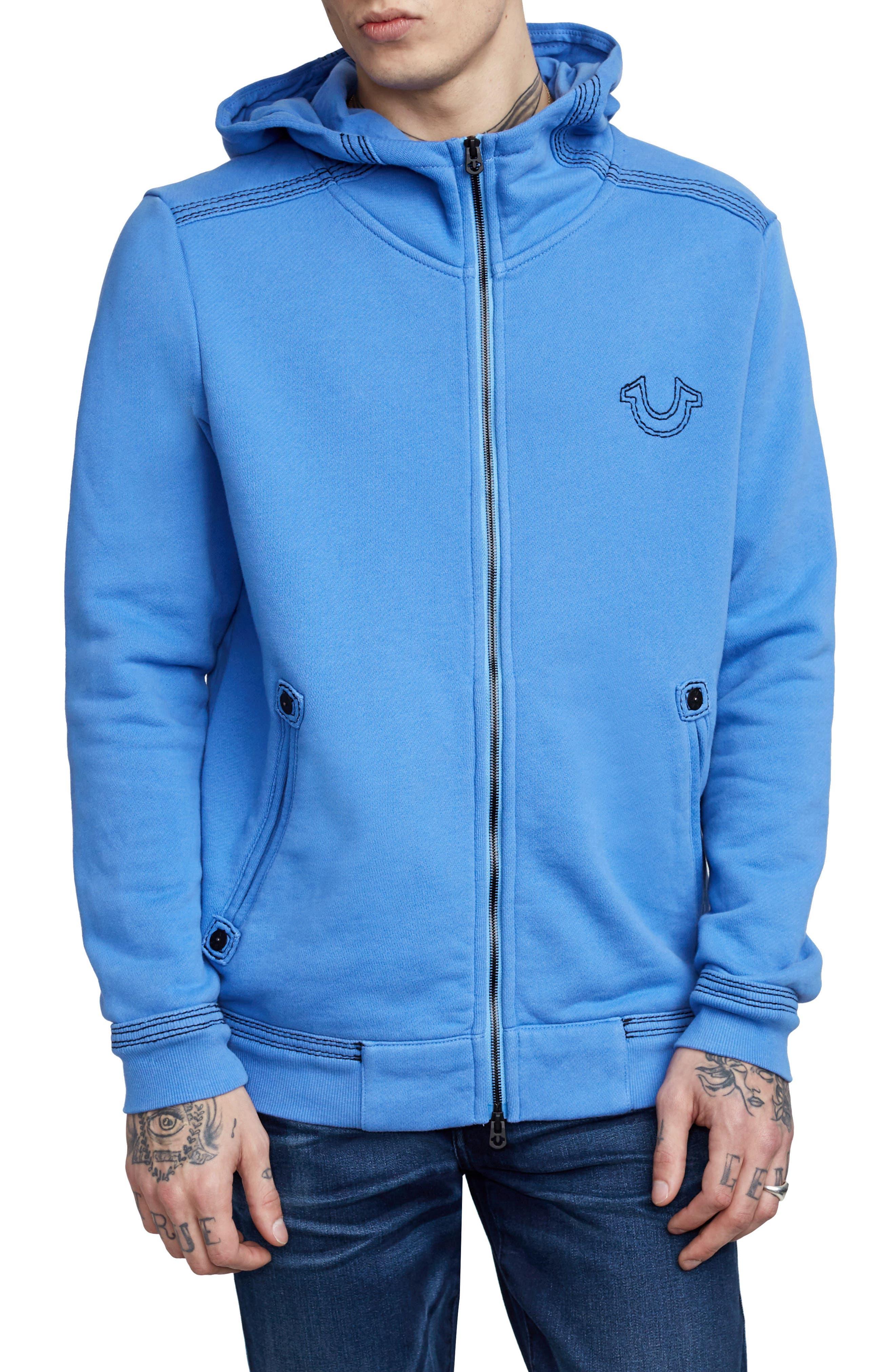 Zip-Up Hoodie,                         Main,                         color, Digital Blue