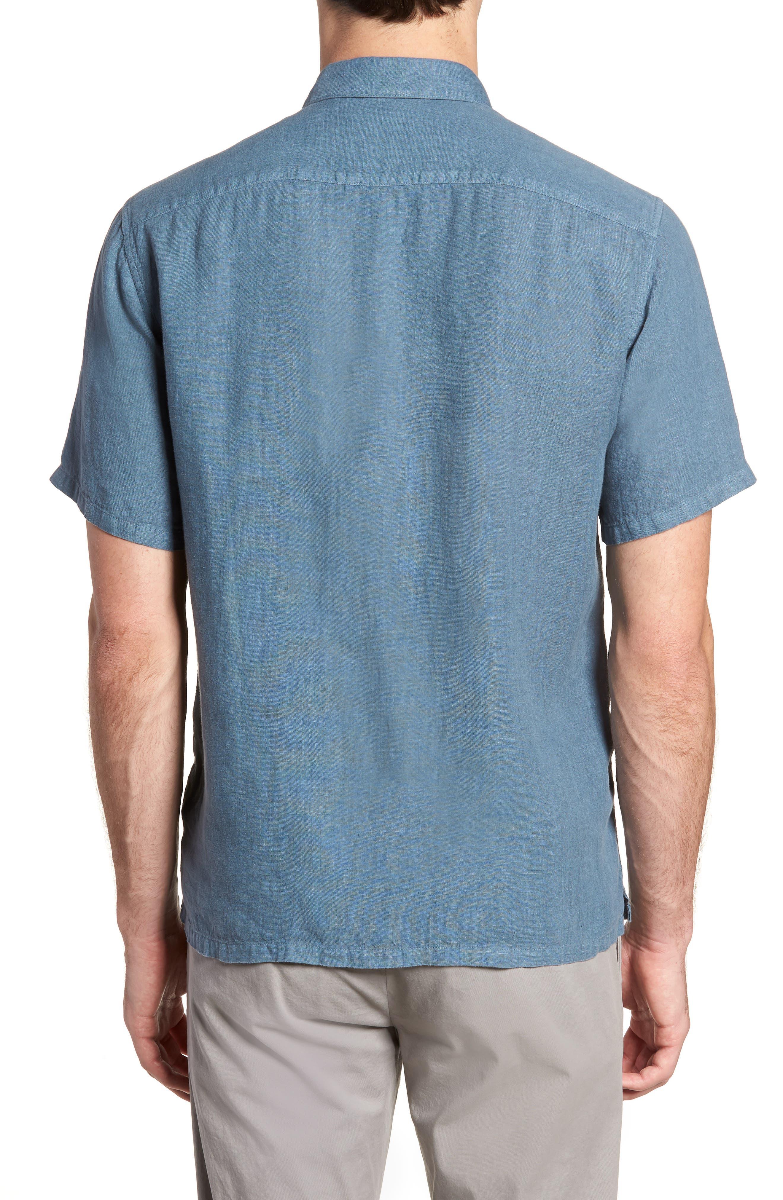 Irving Trim Fit Linen Short Sleeve Sport Shirt,                             Alternate thumbnail 2, color,                             Hydro