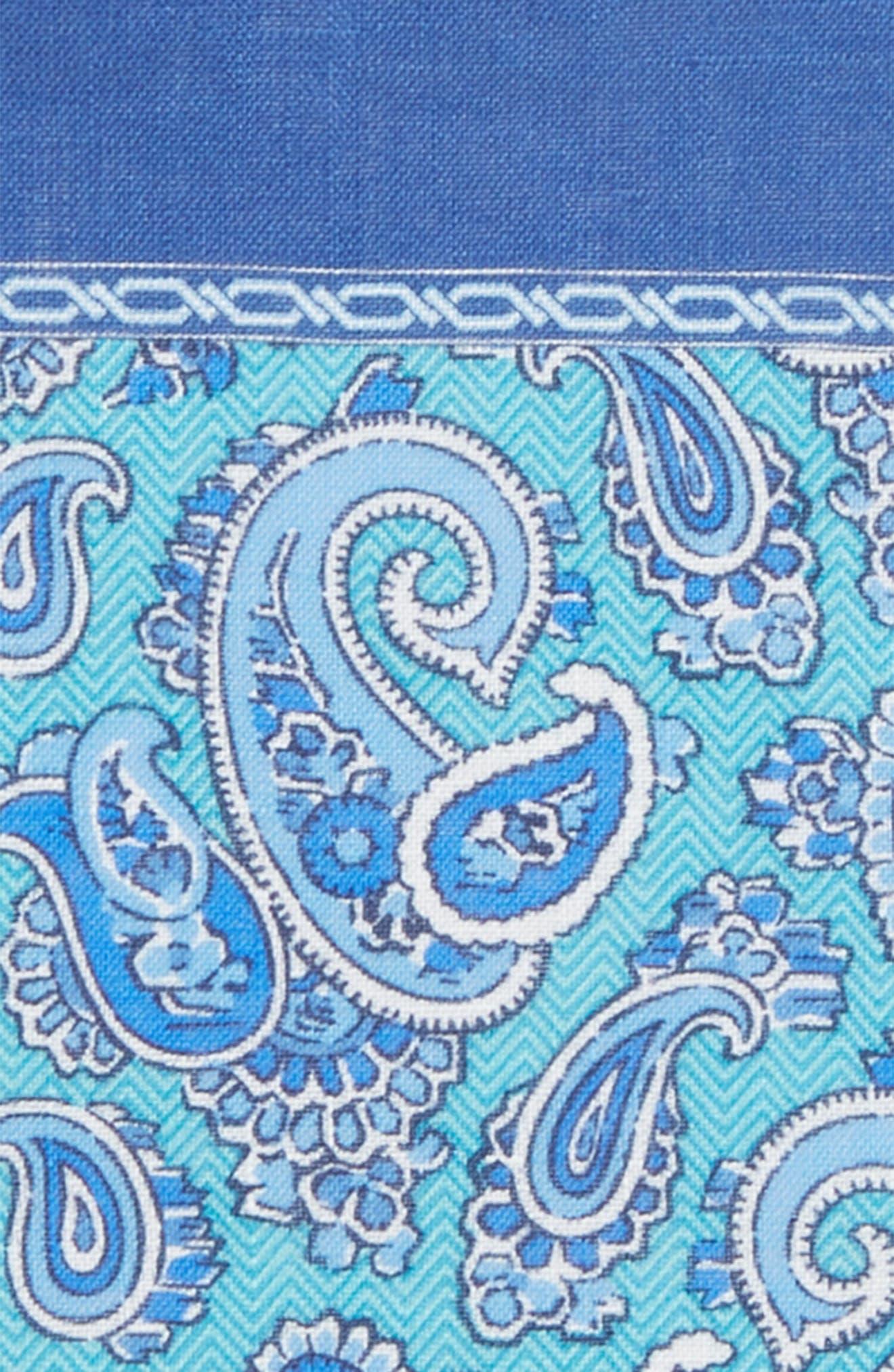 Paisley Linen Pocket Square,                             Alternate thumbnail 3, color,                             Seafoam