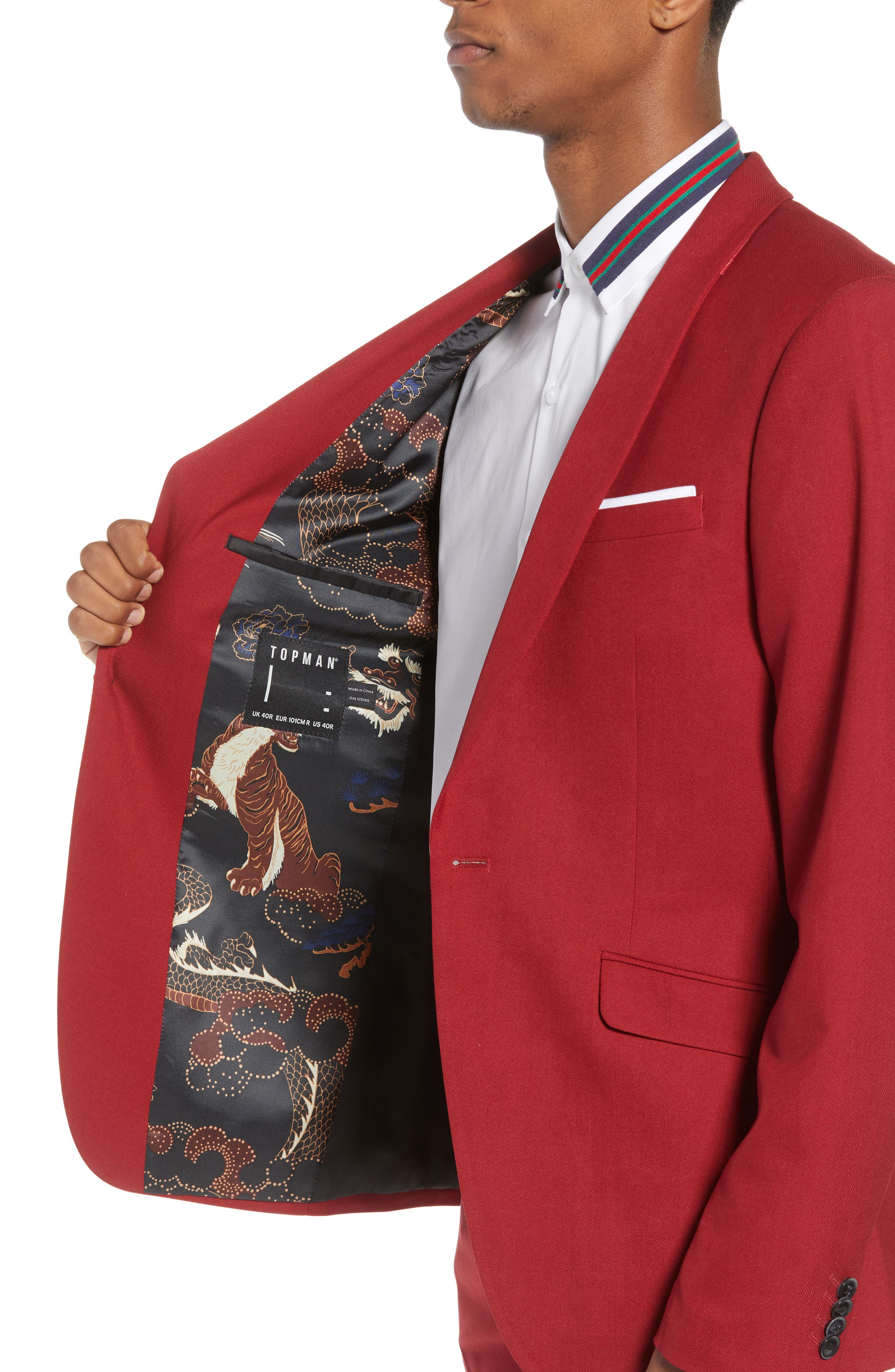 Skinny Fit Suit Jacket,                             Alternate thumbnail 3, color,                             Red