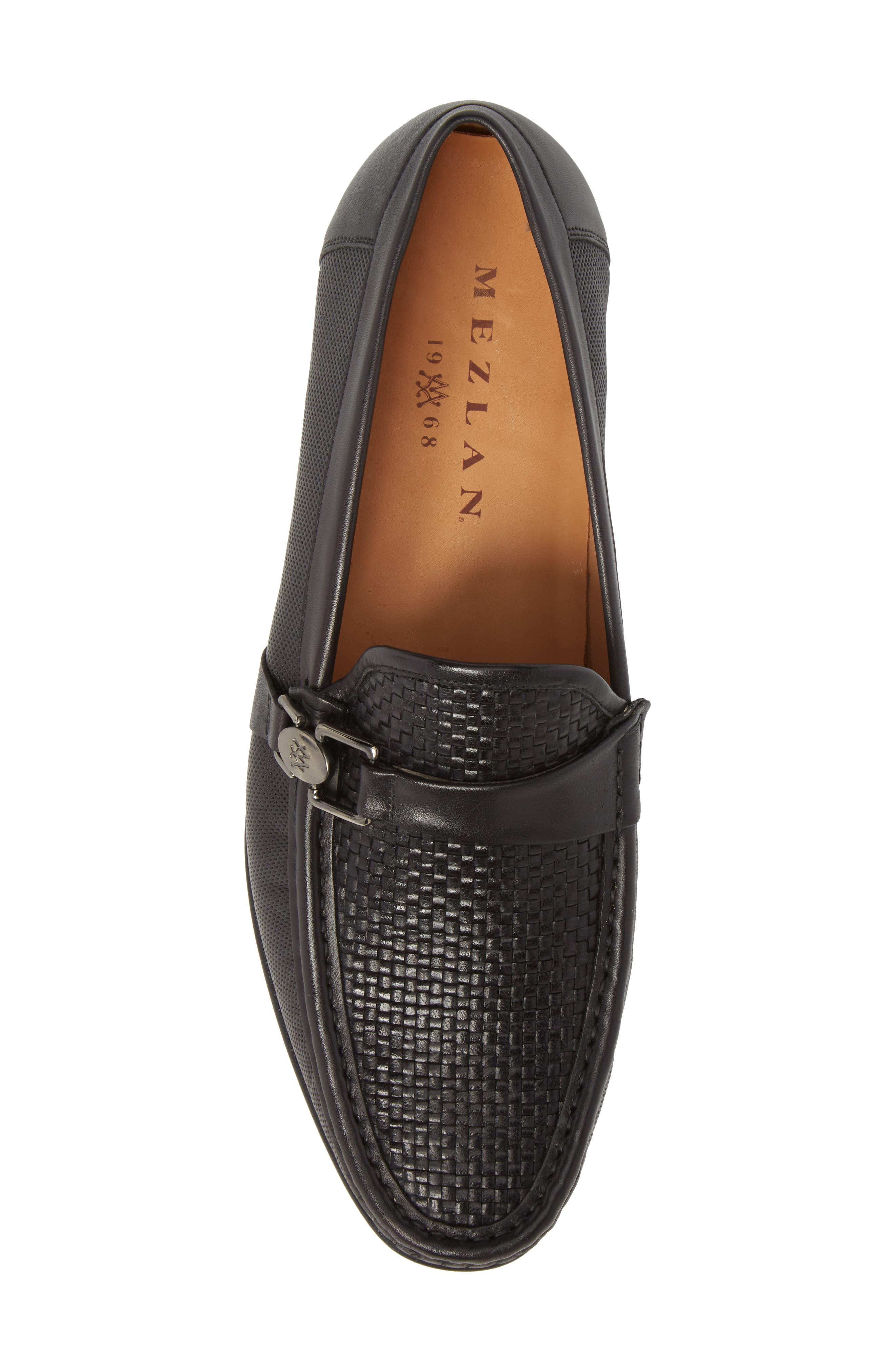 Horatio Woven Moc Toe Loafer,                             Alternate thumbnail 5, color,                             Black Leather