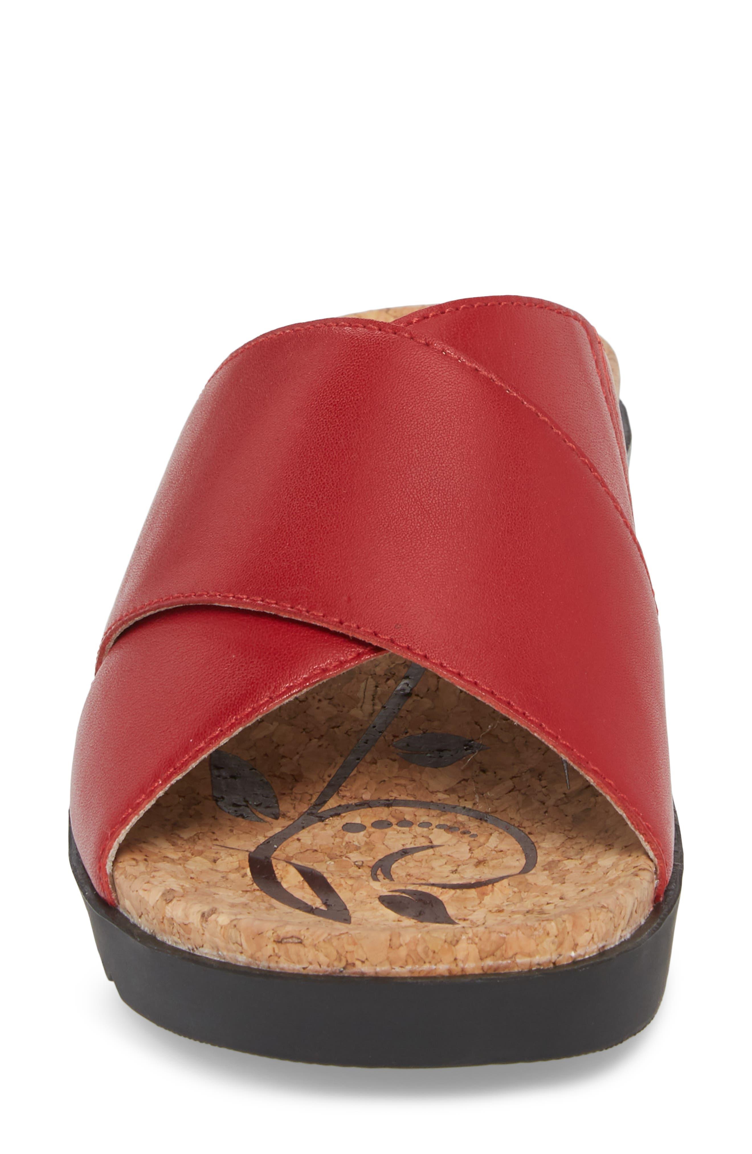 Hollywood 02 Slide Sandal,                             Alternate thumbnail 4, color,                             Red Leather