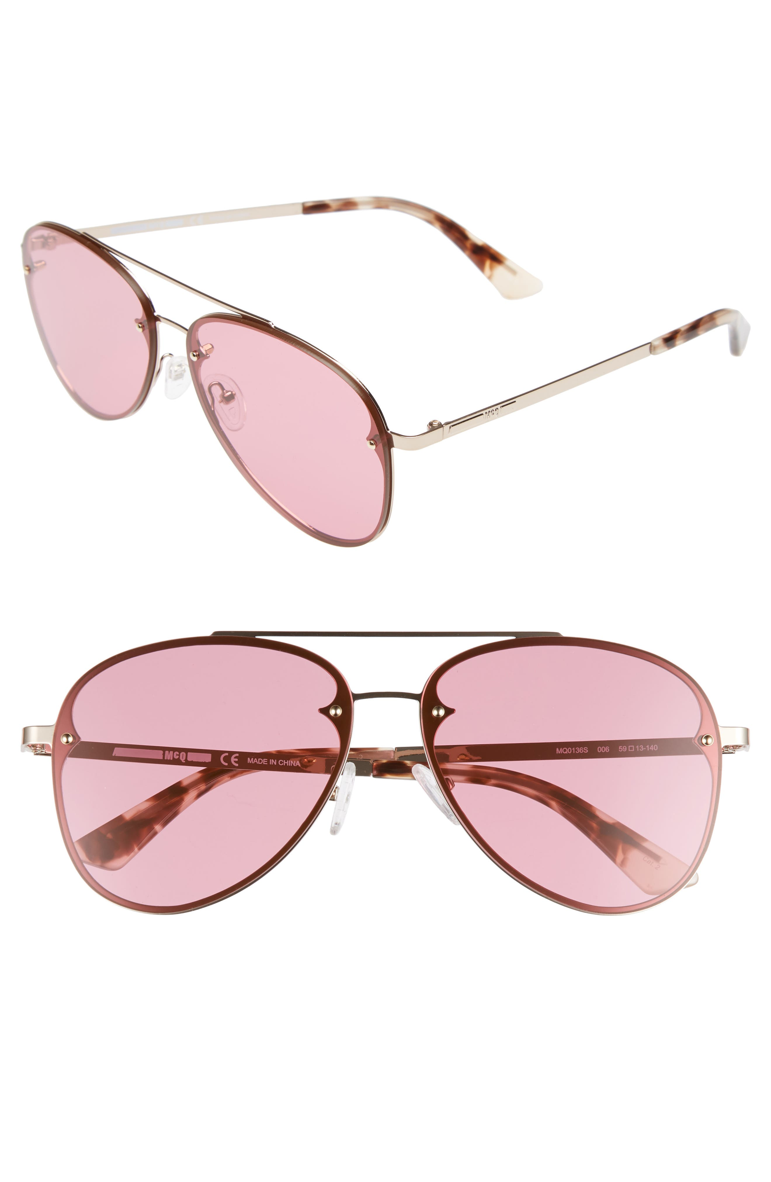 59mm Aviator Sunglasses,                         Main,                         color, Gold
