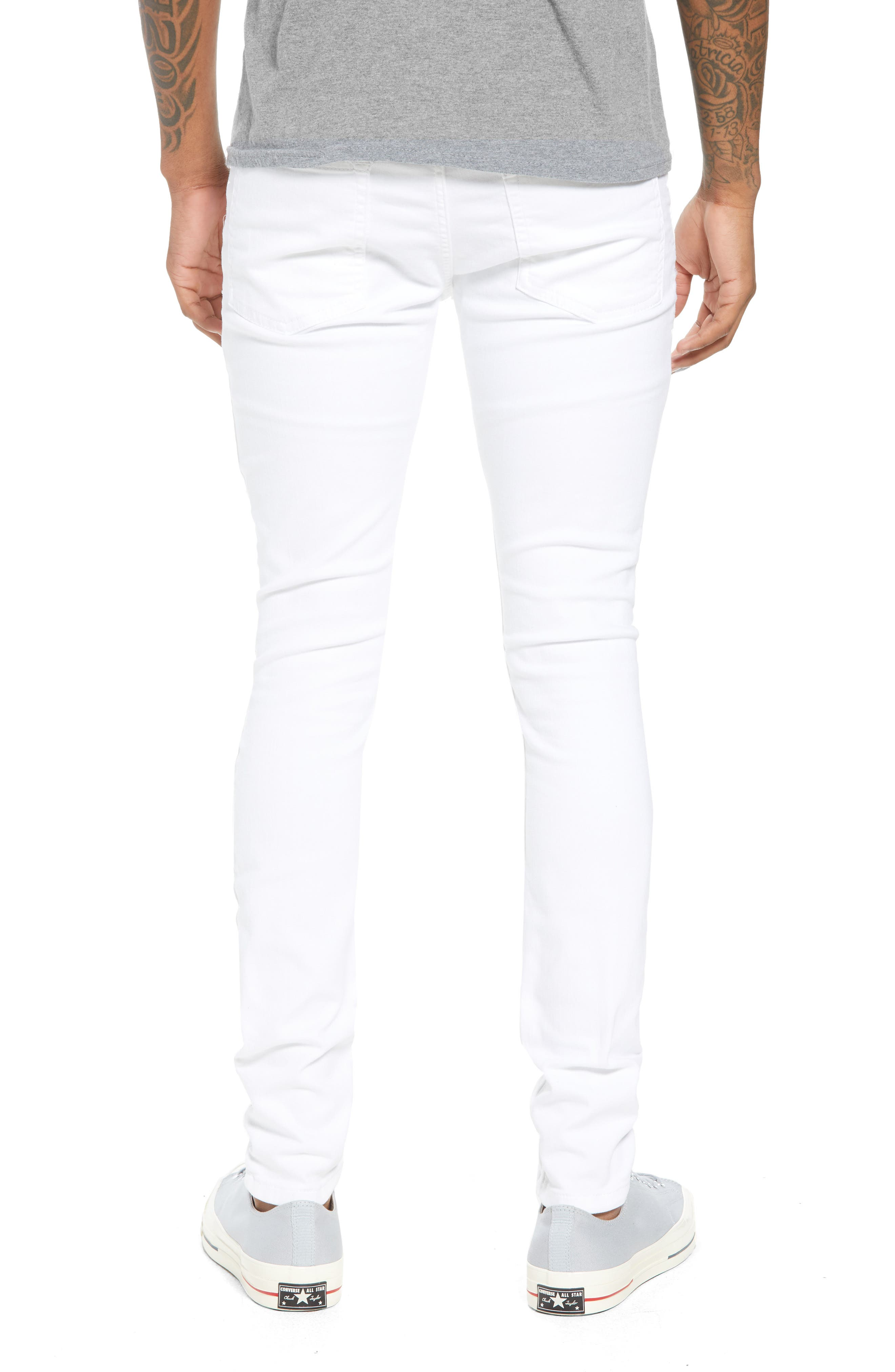Skinny Spray On Ripped Jeans,                             Alternate thumbnail 2, color,                             White