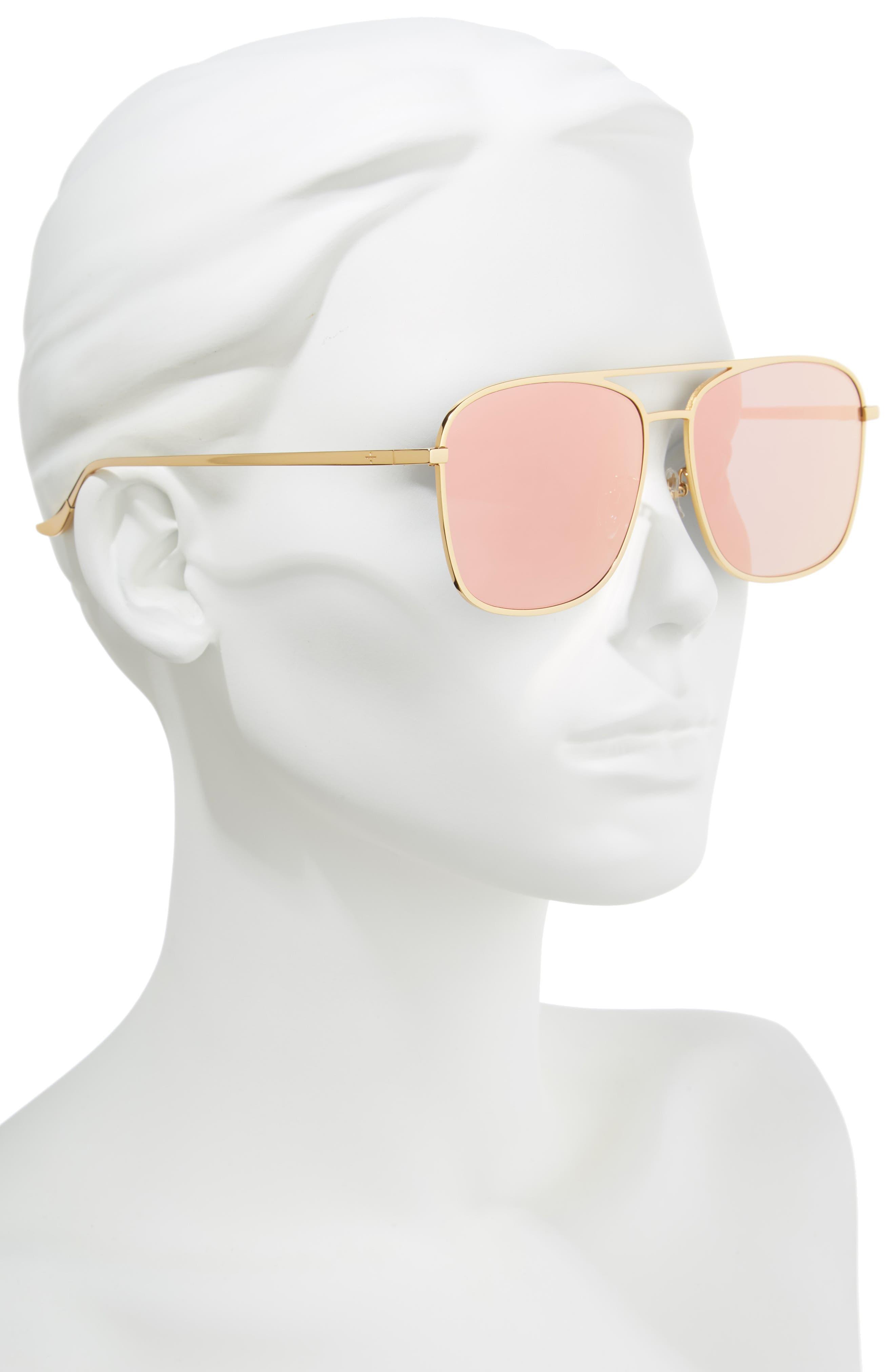 BLANC & ECLARE Geneva 61mm Large Polarized Metal Aviator Sunglasses,                             Alternate thumbnail 2, color,                             Gold/ Pink