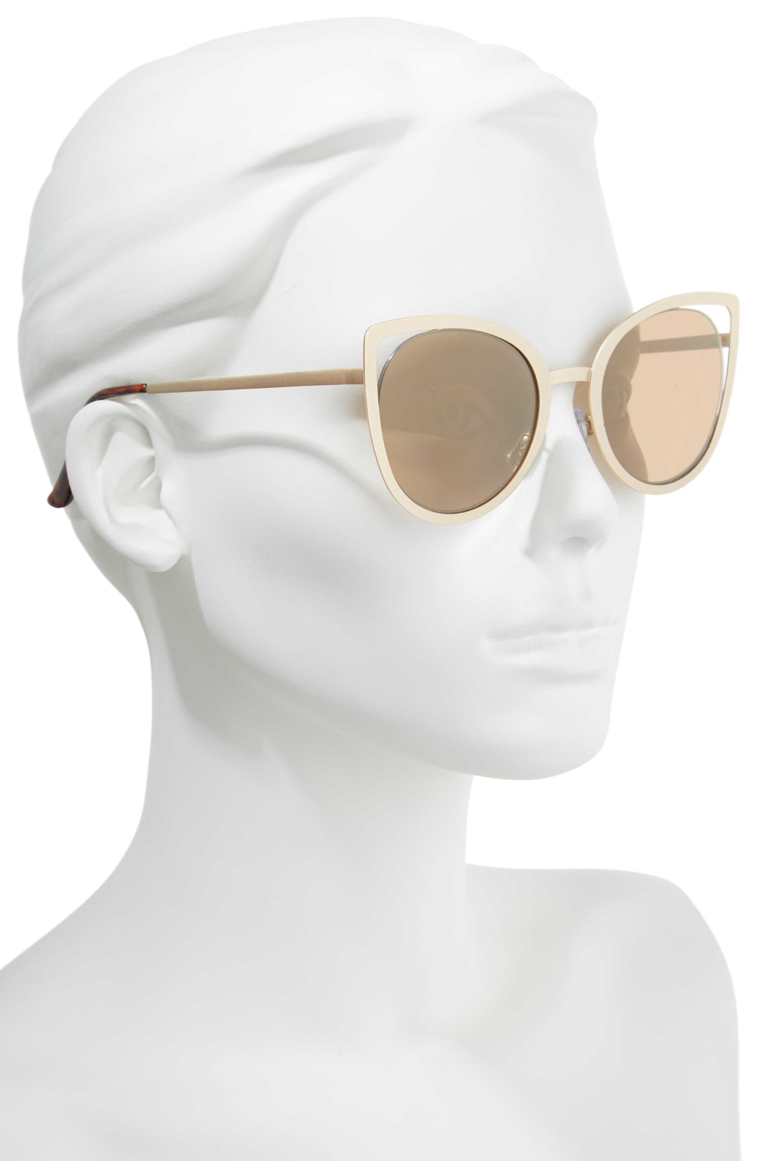 53mm Cutout Cat Eye Sunglasses,                             Alternate thumbnail 2, color,                             Gold
