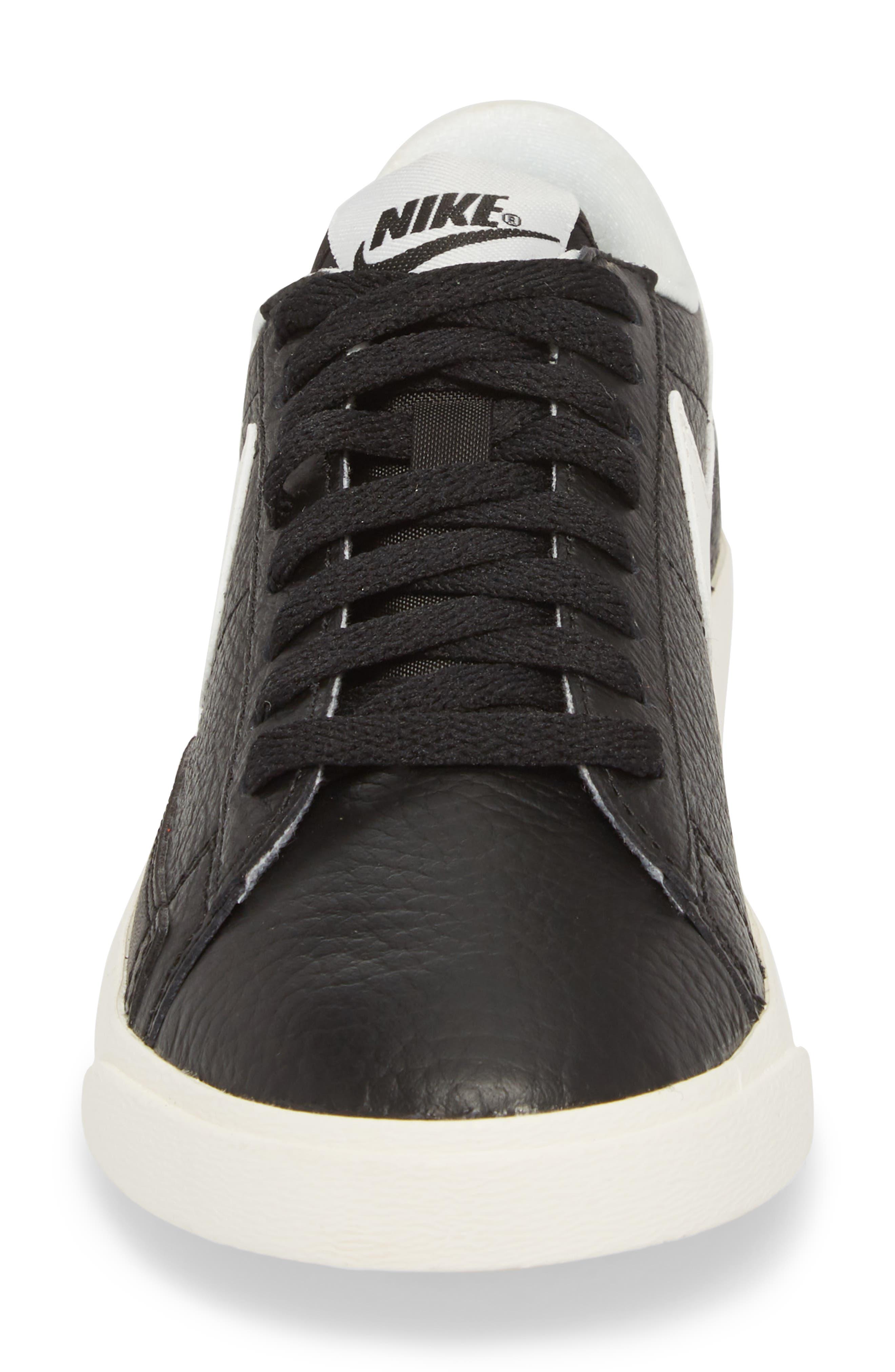 Blazer Premium Low Sneaker,                             Alternate thumbnail 4, color,                             Black/ White/ Black