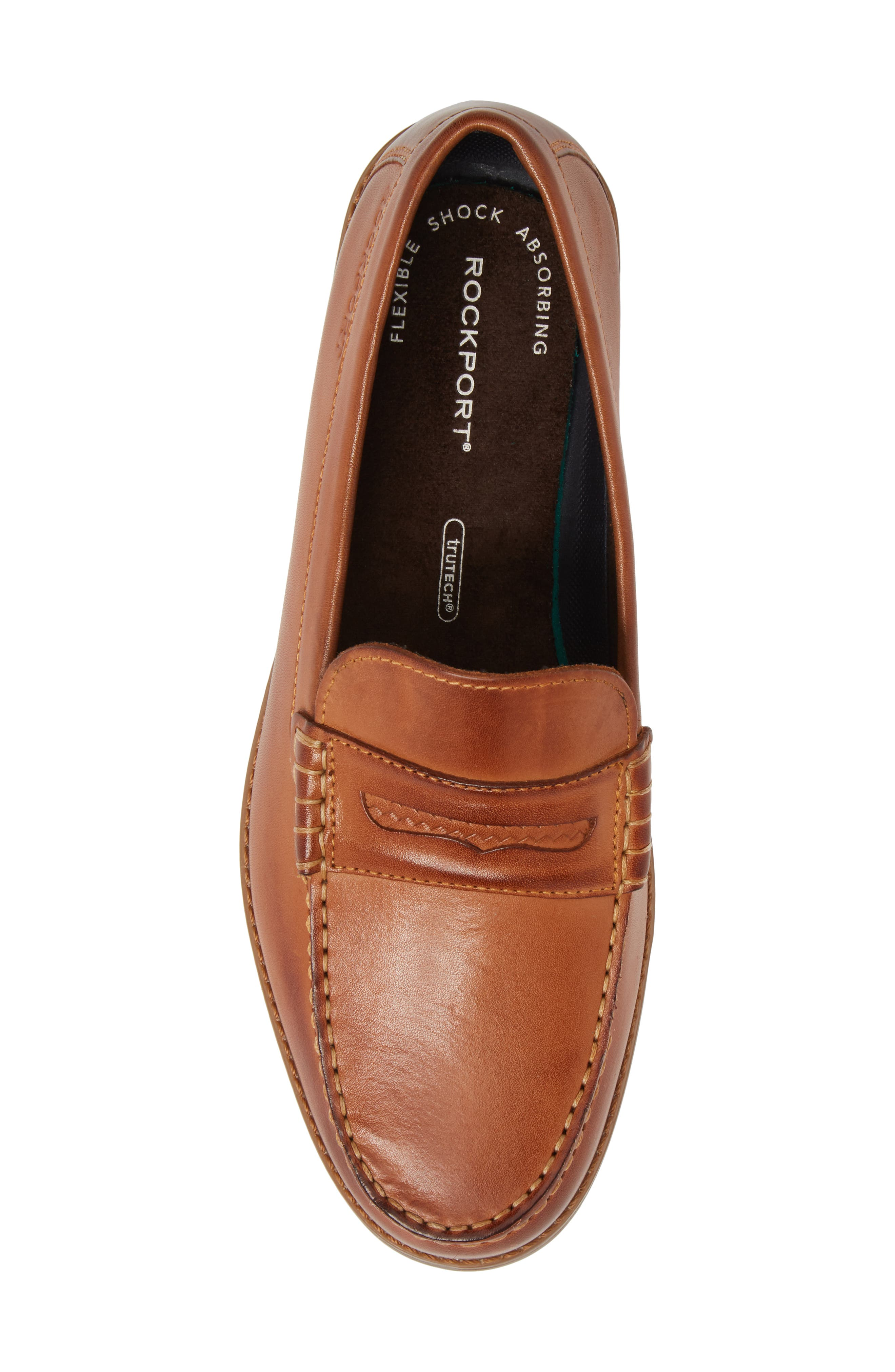 Cayleb Moc Toe Penny Loafer,                             Alternate thumbnail 5, color,                             Cognac Leather