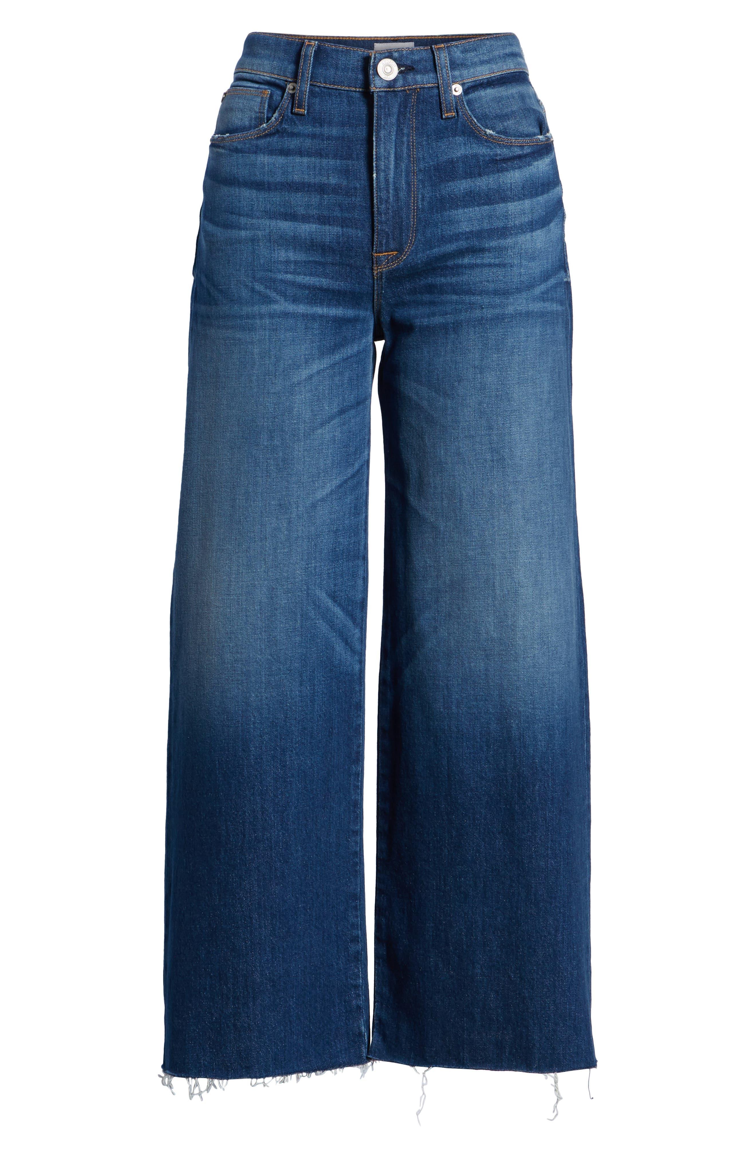 Holly High Waist Raw Hem Crop Wide Leg Jeans,                             Alternate thumbnail 7, color,                             Own It