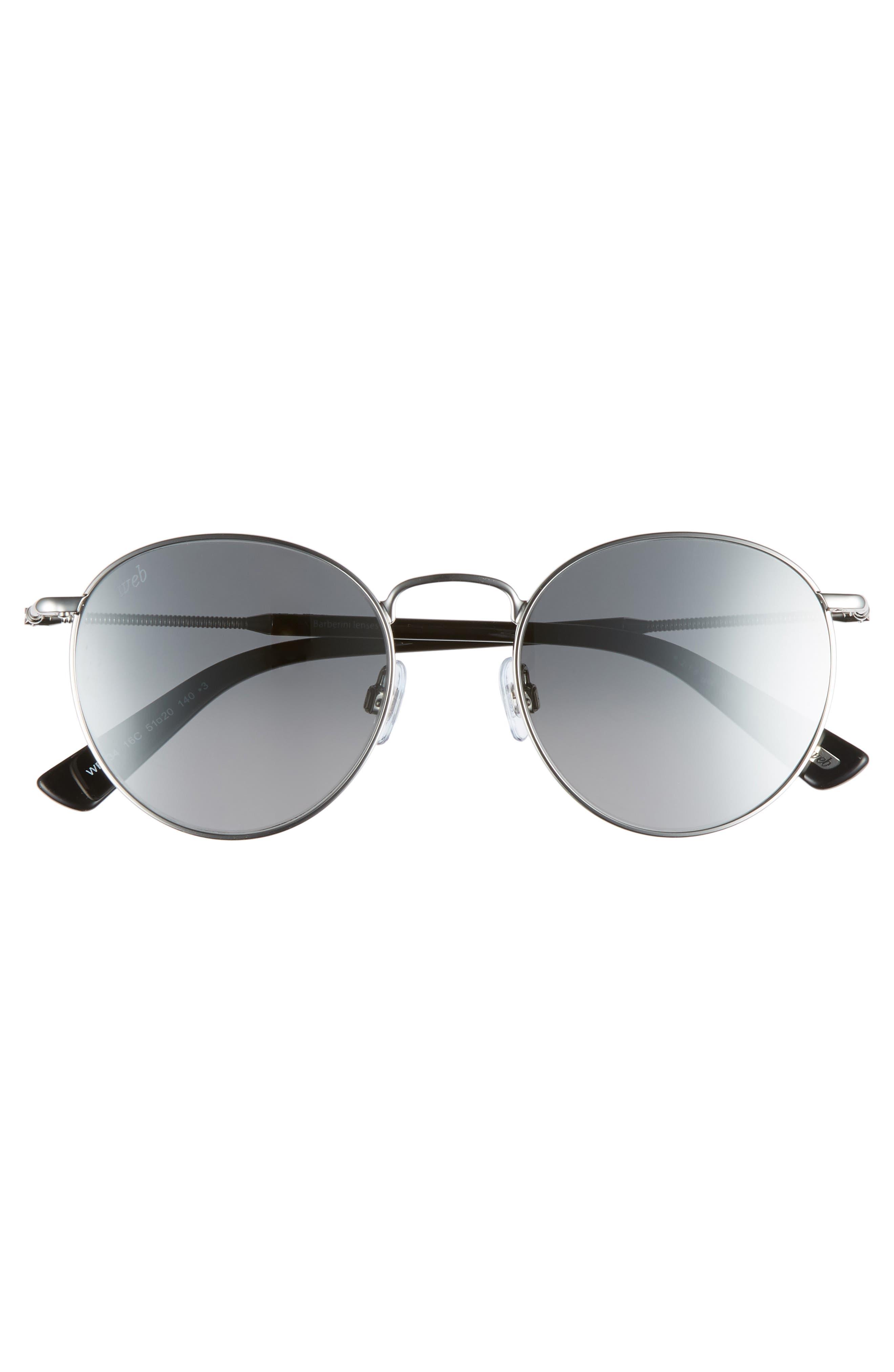 51mm Round Metal Sunglasses,                             Alternate thumbnail 3, color,                             Shiny Palladium/ Smoke Mirror