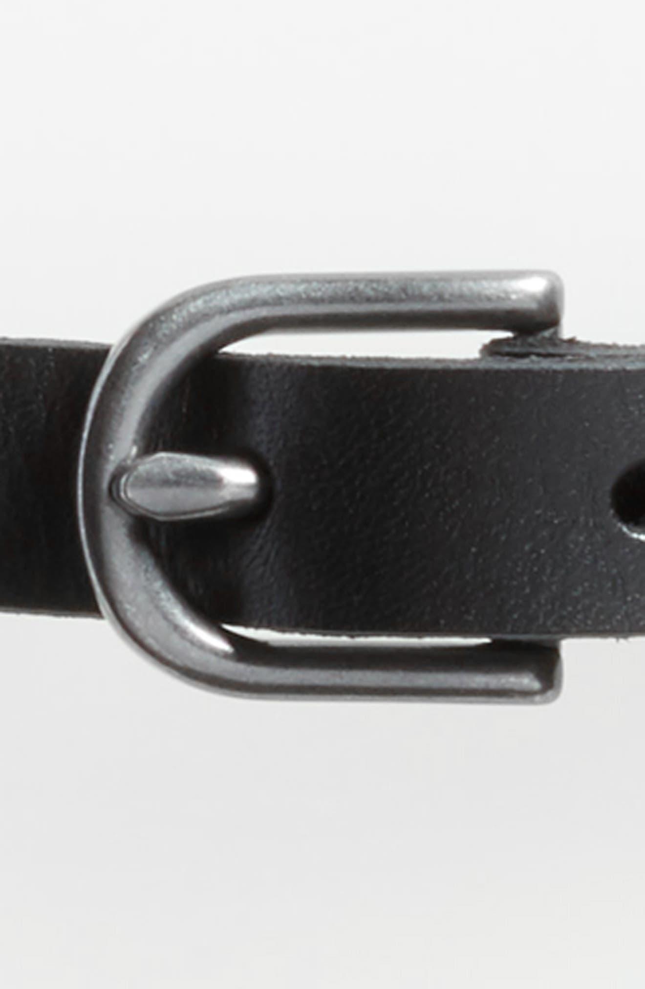 Mesh Inset Skinny Belt,                             Alternate thumbnail 3, color,                             Black