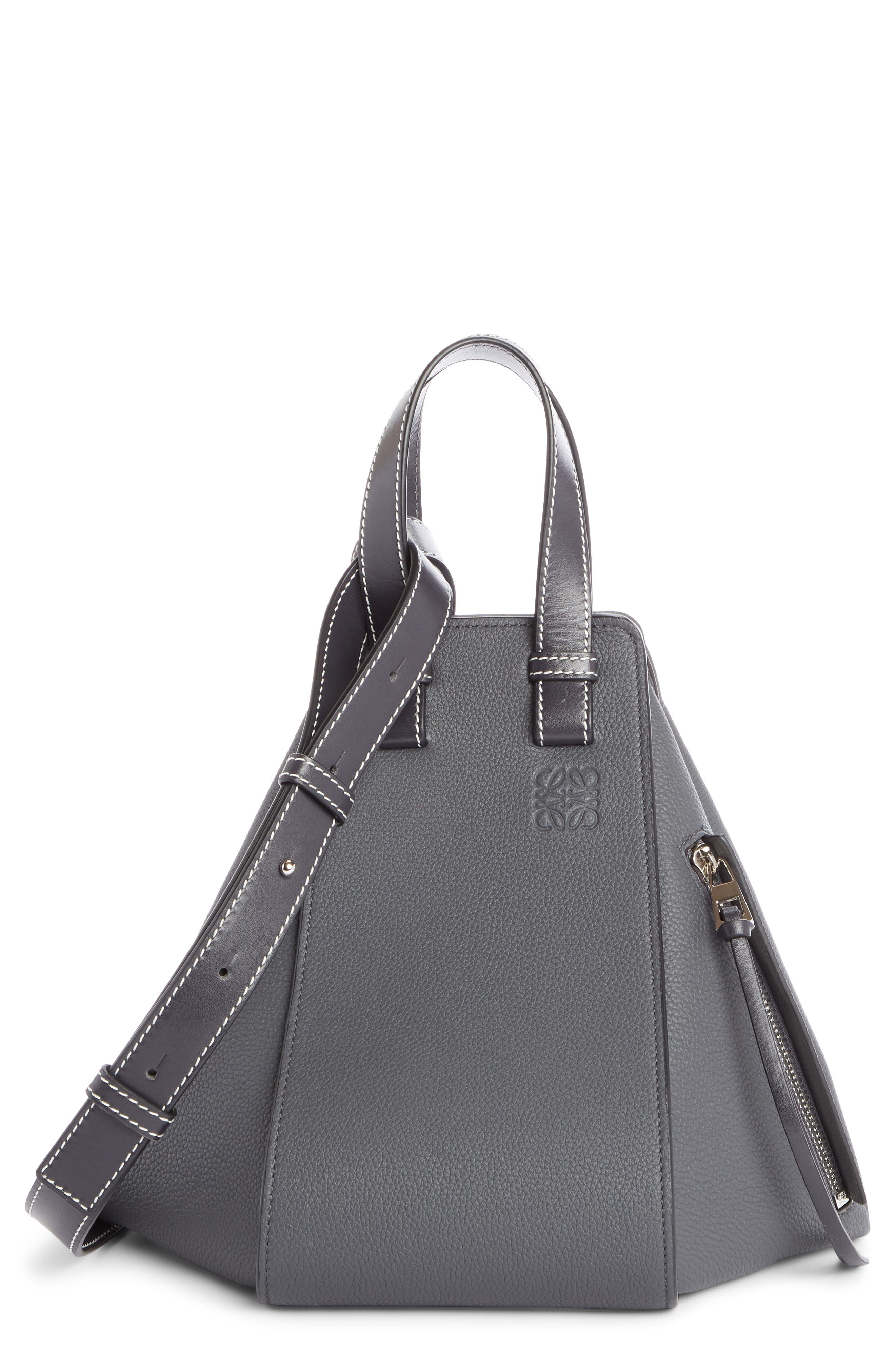 Small Hammock Pebbled Leather Hobo,                         Main,                         color, Anthracite