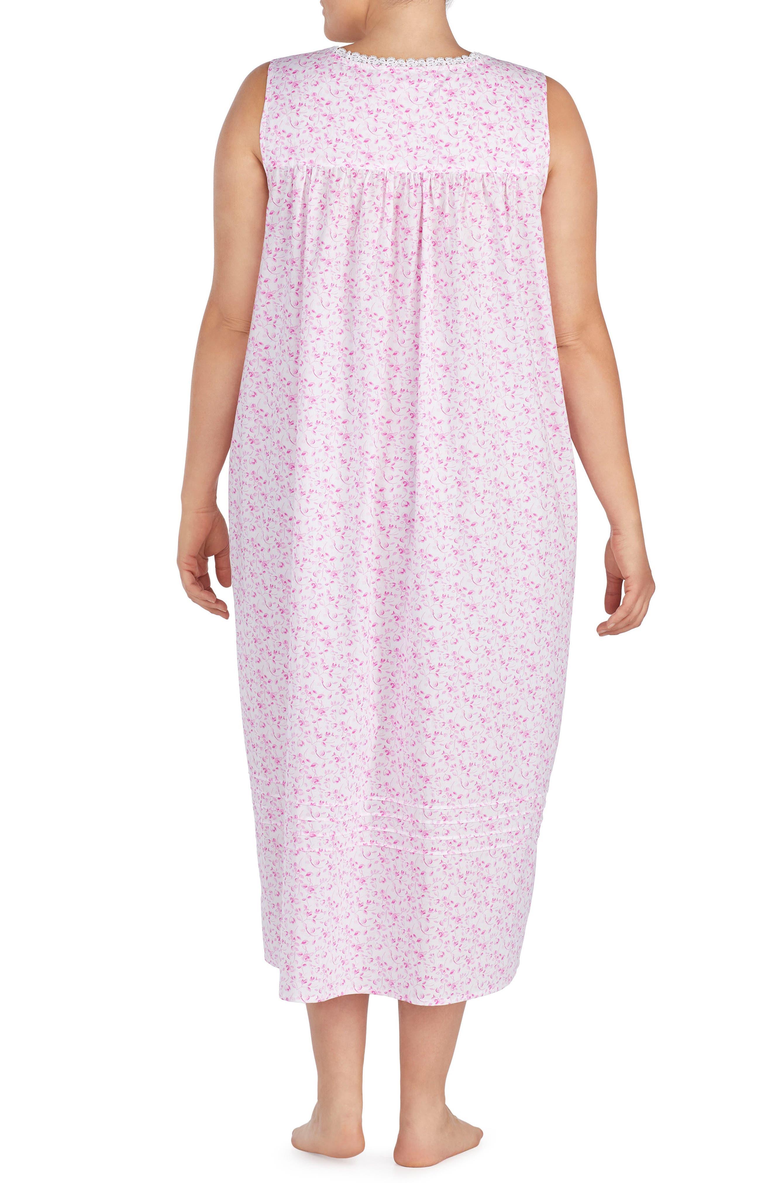 Cotton Lawn Ballet Nightgown,                             Alternate thumbnail 2, color,                             Rose Floral