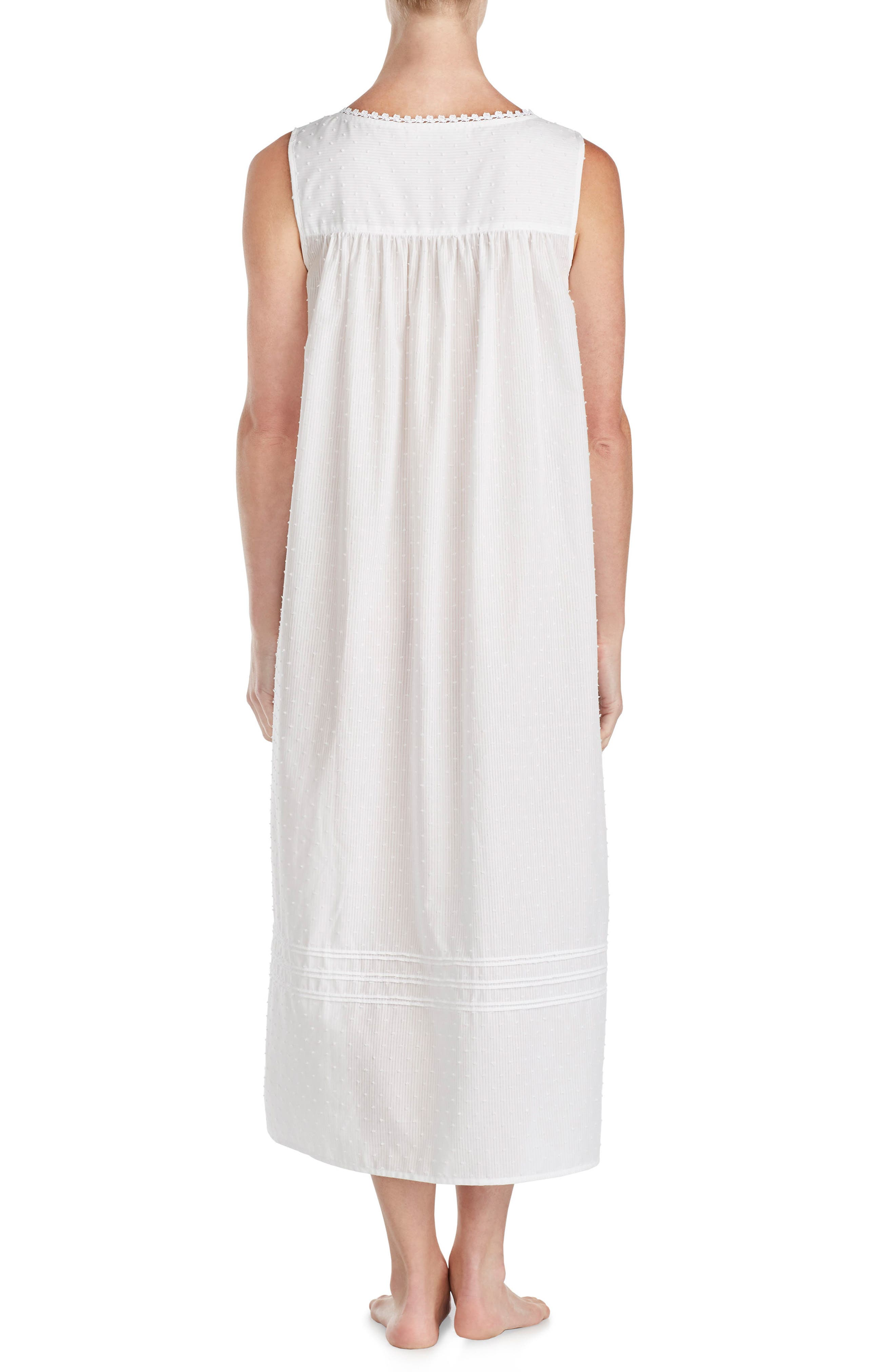 Swiss Dot Nightgown,                             Alternate thumbnail 2, color,                             White