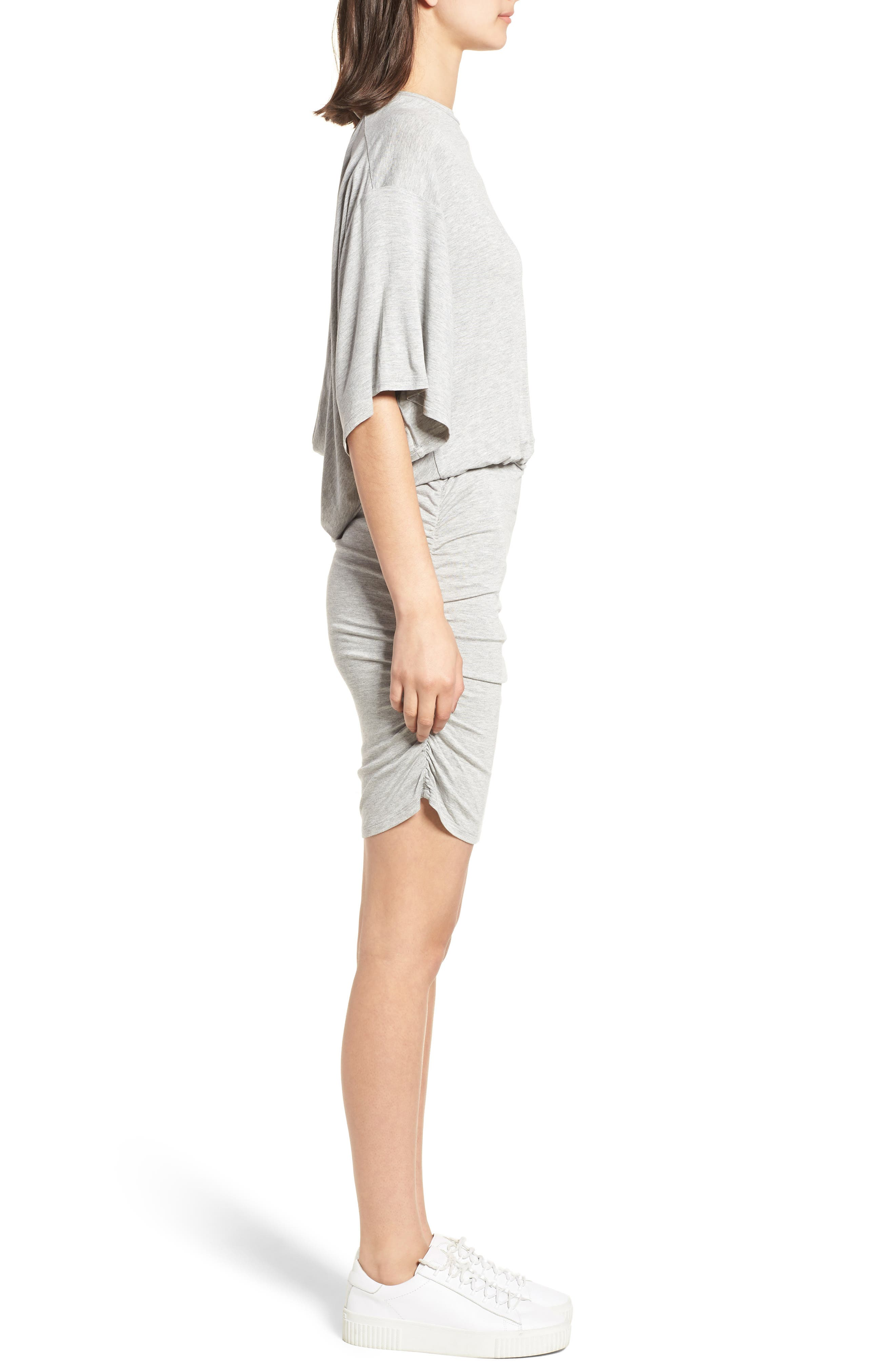 Open Back T-Shirt Dress,                             Alternate thumbnail 3, color,                             Heather Grey