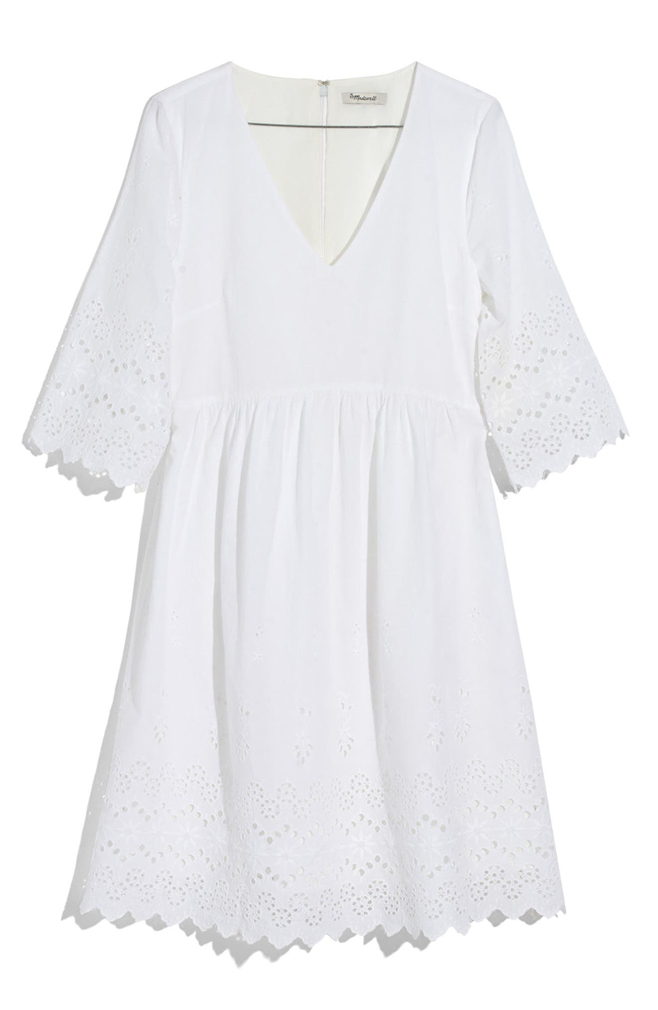 EYELET LATTICE DRESS