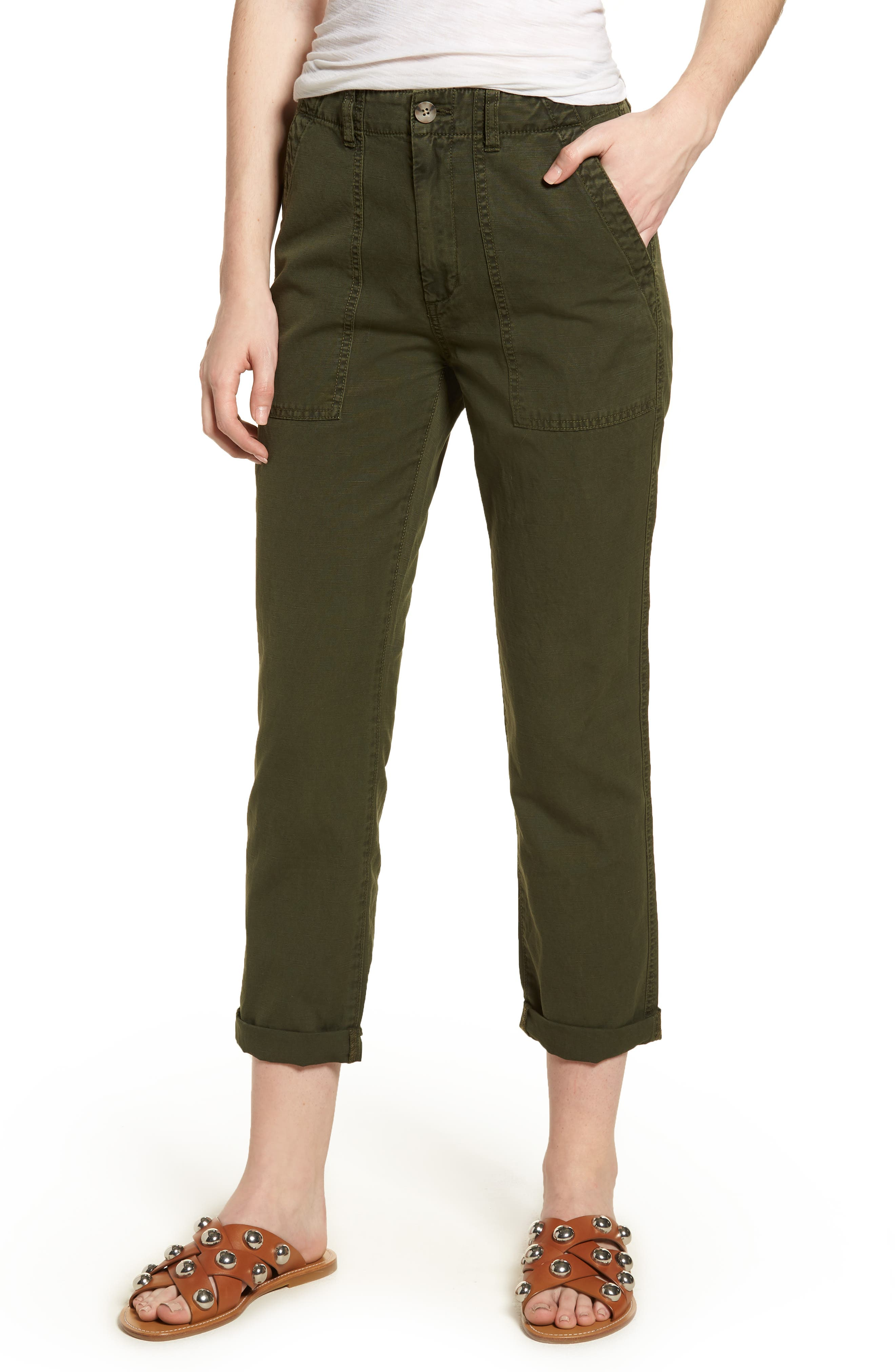 The Wes Utilitarian Relaxed Straight Pants,                             Main thumbnail 1, color,                             Sulfur Desert Pine