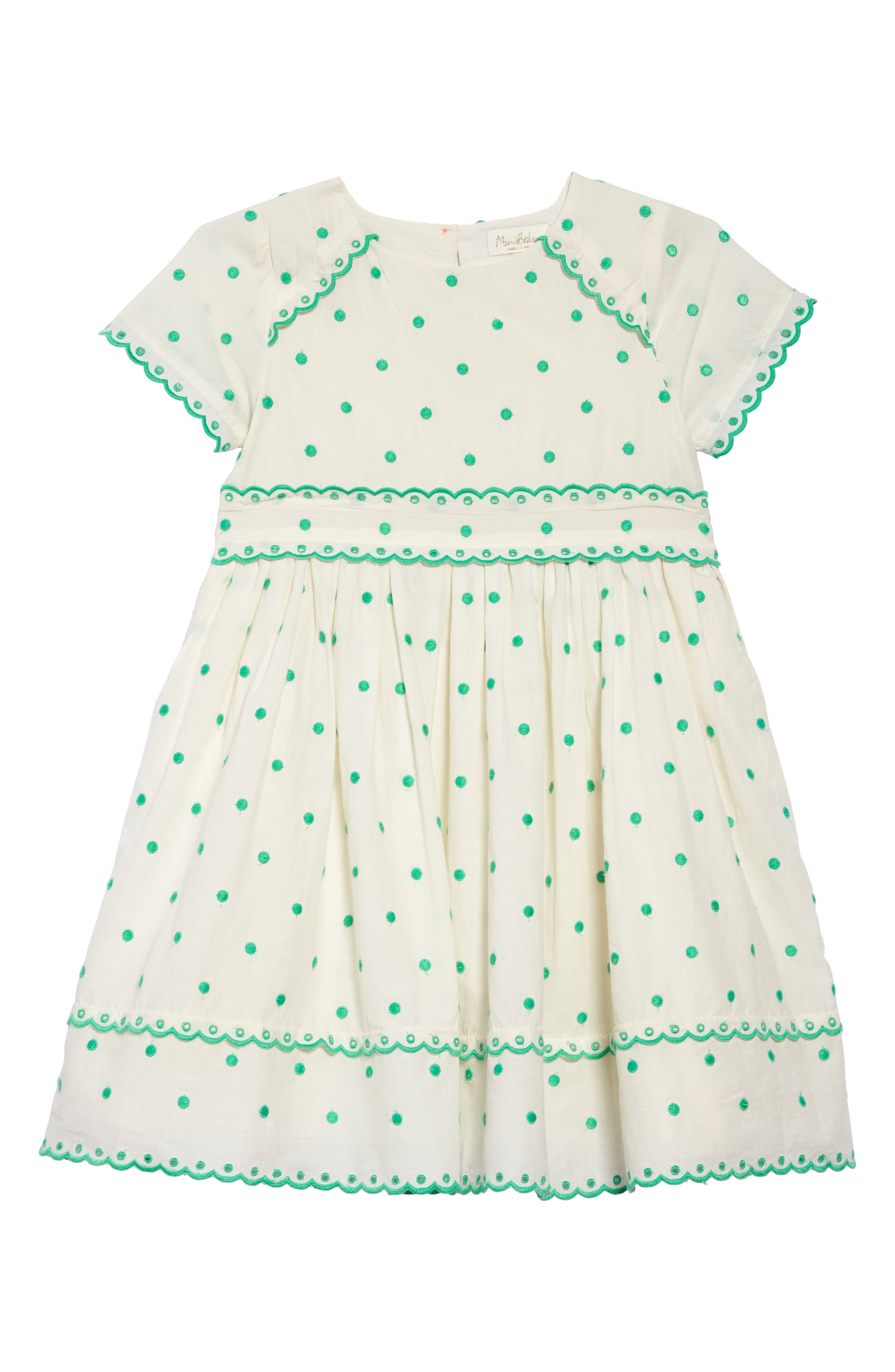 Embroidered Dot Scalloped Dress,                             Main thumbnail 1, color,                             Sptecru/ Mint Embroidered Spot