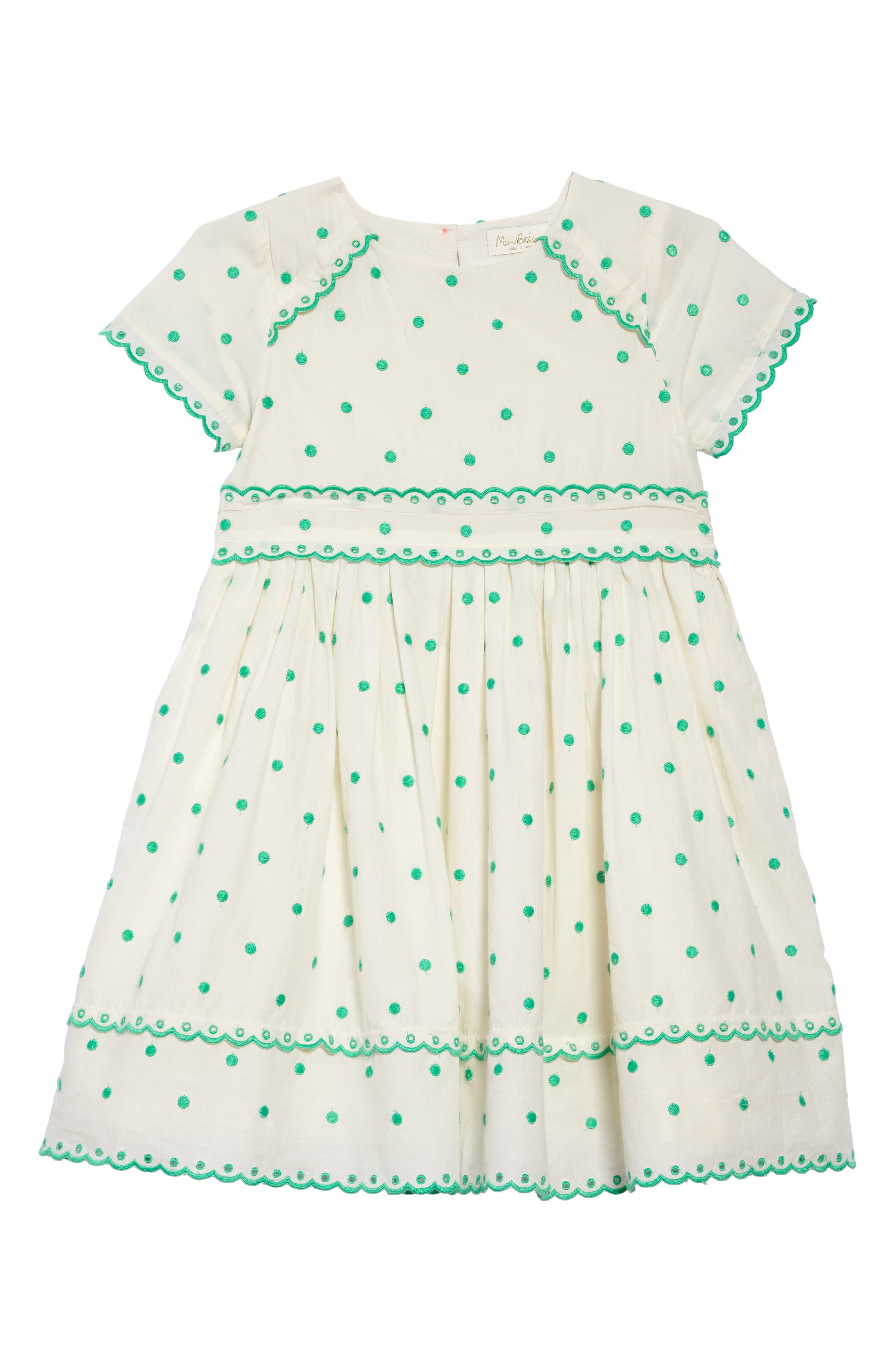 Main Image - Mini Boden Embroidered Dot Scalloped Dress (Toddler Girls, Little Girls & Big Girls)